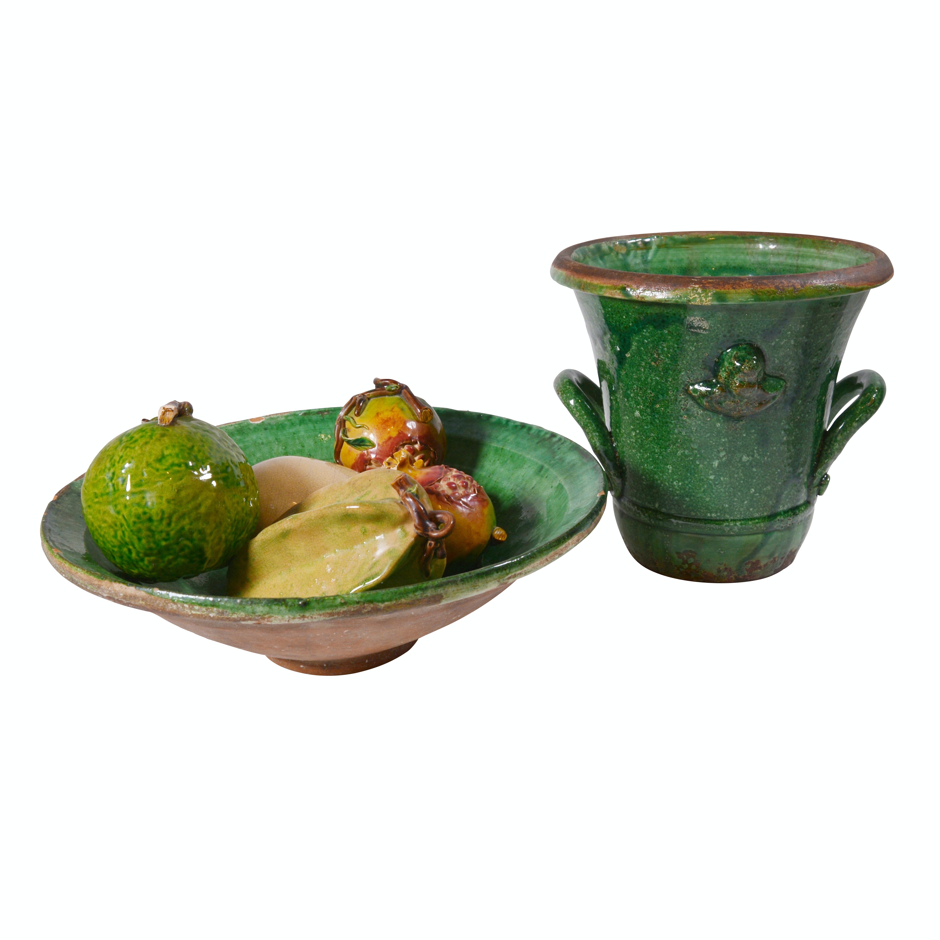 Vietri Green Glazed Pottery Bowl and Urn with Ceramic Fruit, Contemporary