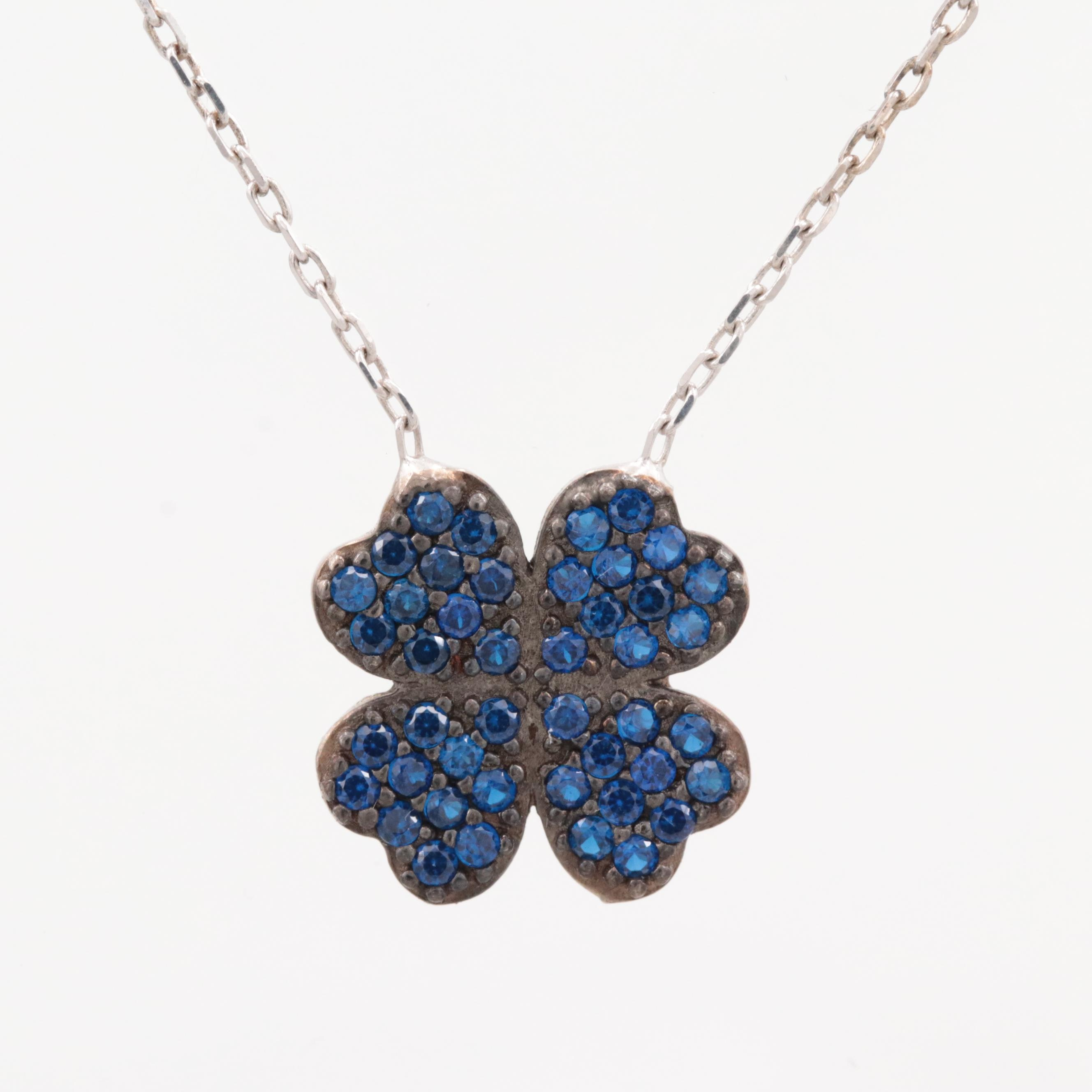 Sterling Silver Synthetic Spinel Quatrefoil Necklace