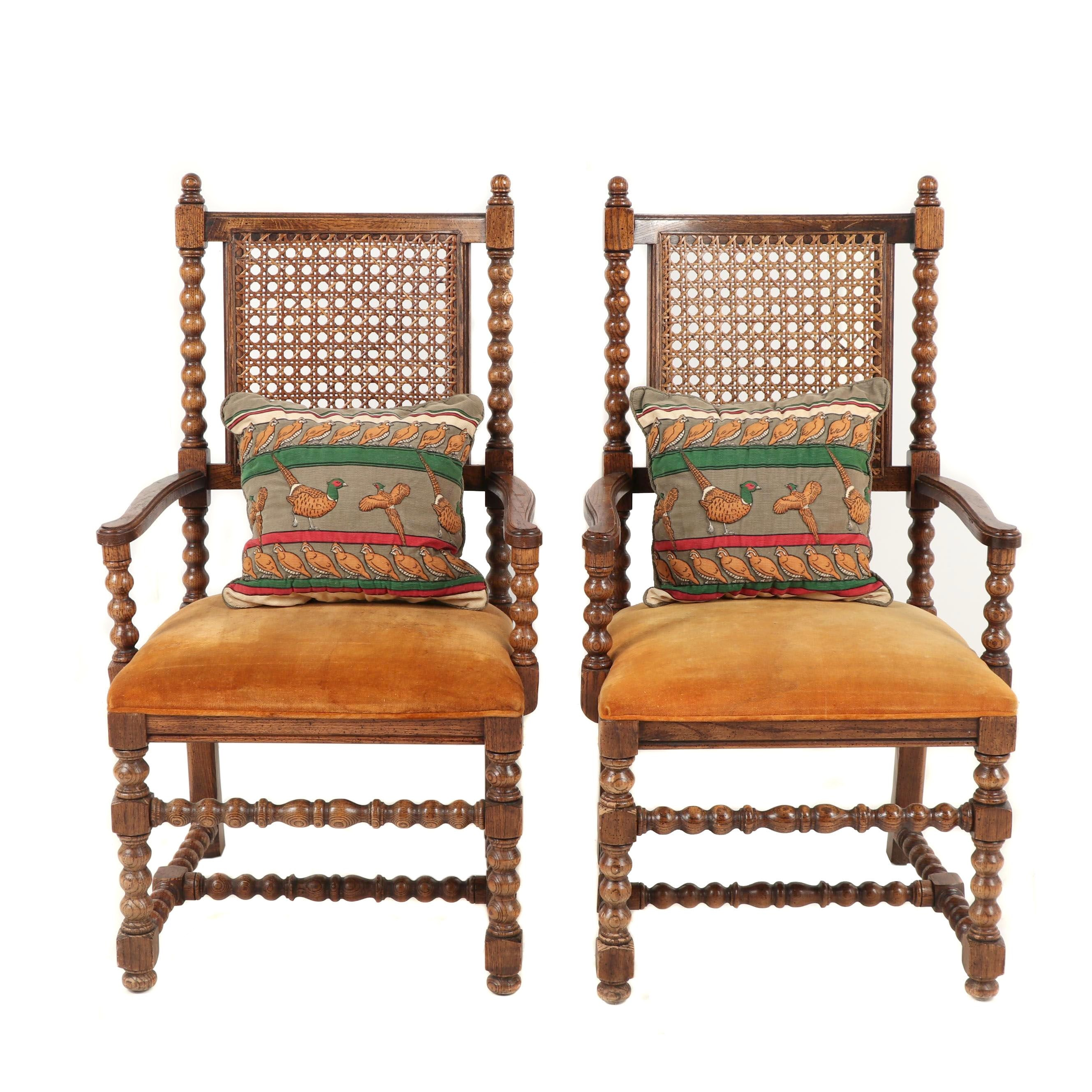 Pair of Century Furniture Company Wicker Back Armchairs