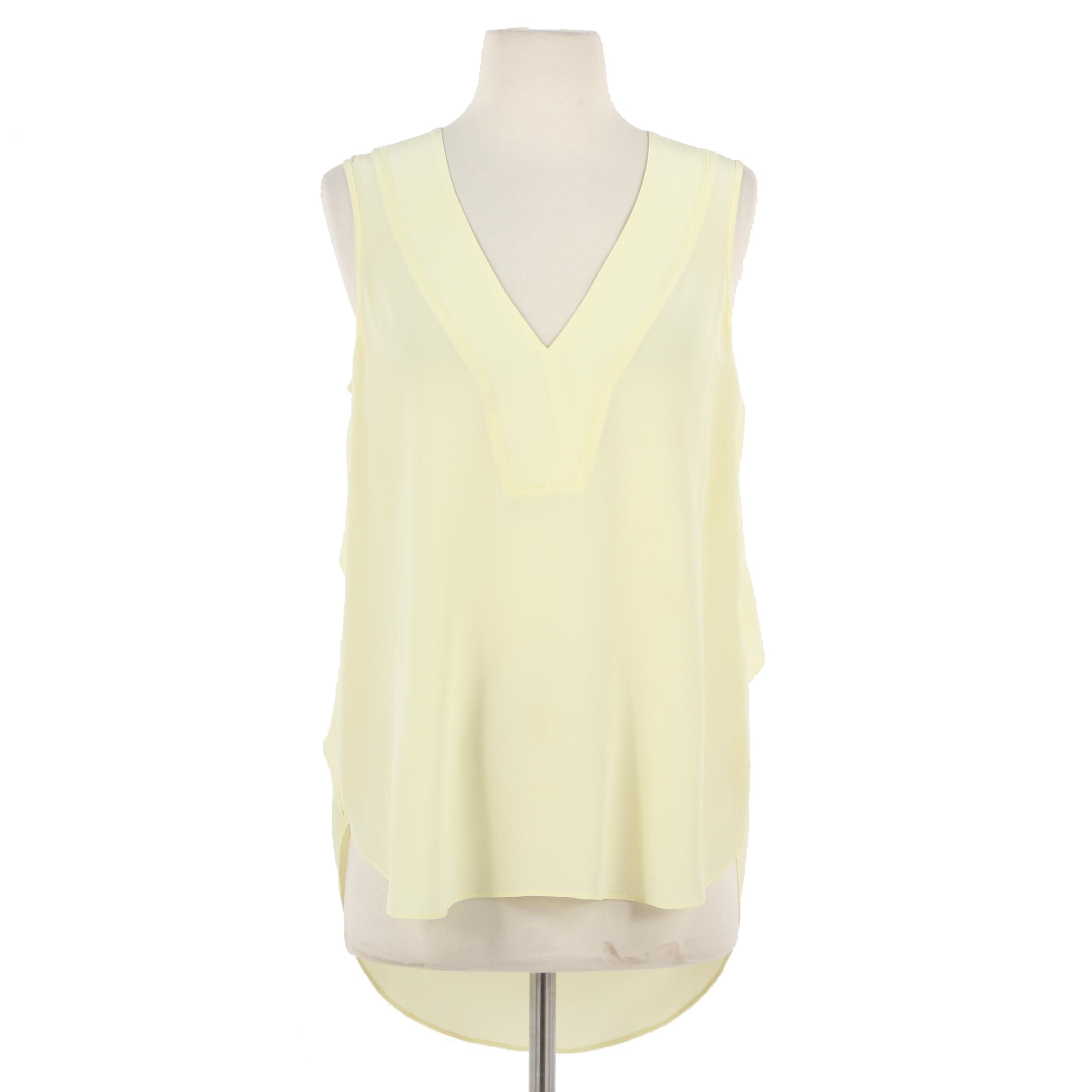 Derek Lam 10 Crosby Silk V-Neck Sleeveless Blouse in Pale Yellow