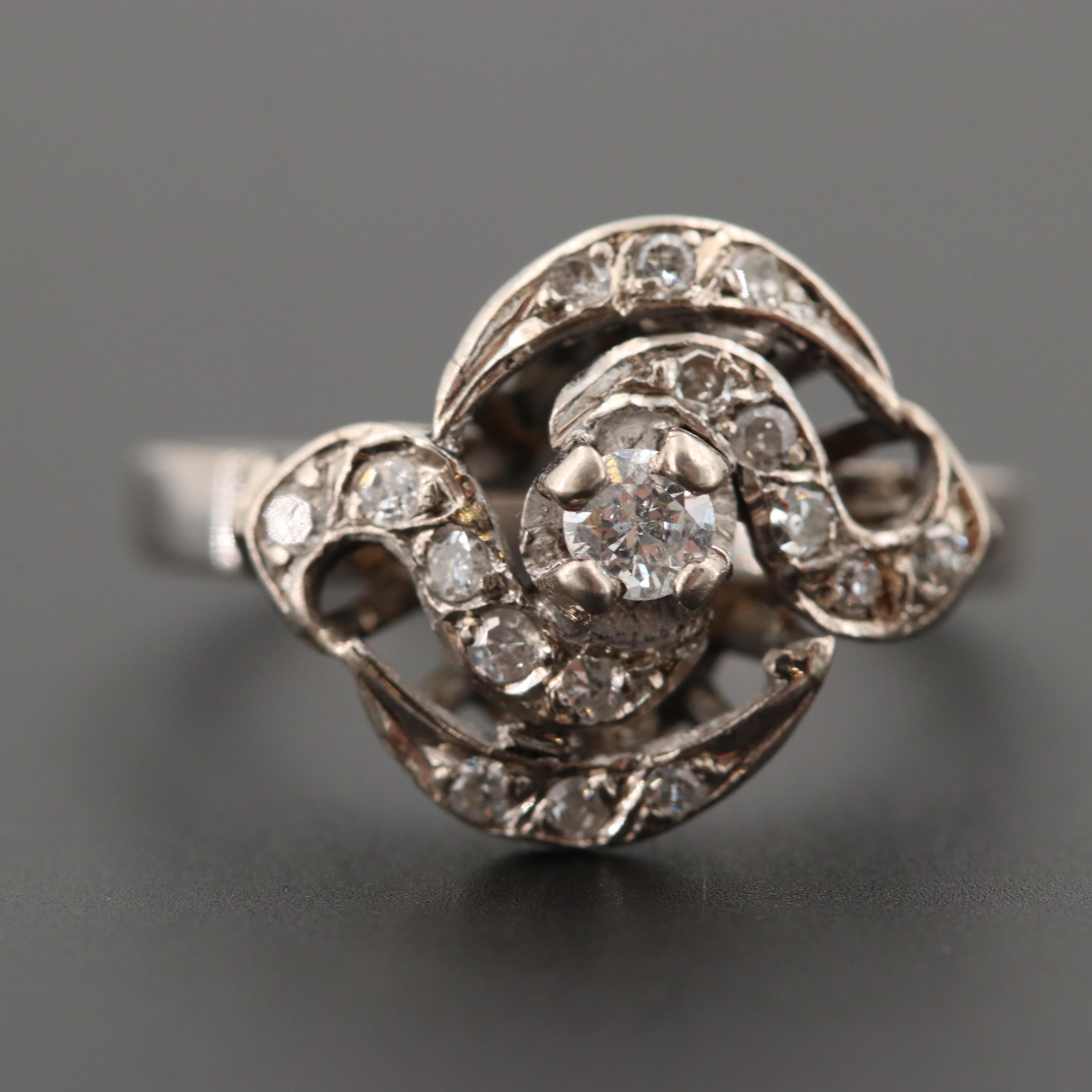 Circa 1940s 10K White Gold Diamond Ring