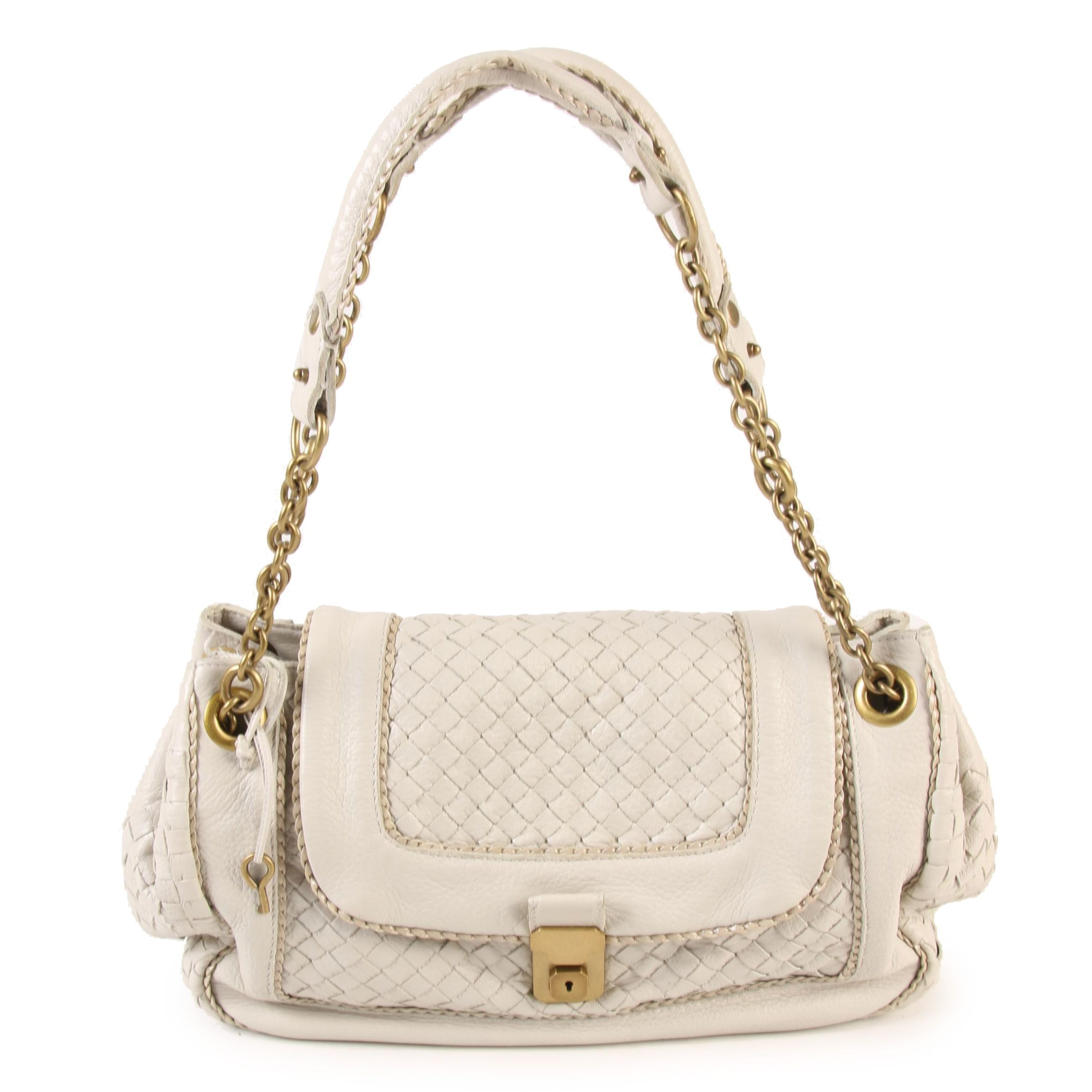 Bottega Veneta Flap Front Shoulder Bag with Intrecciato Woven Bone Leather