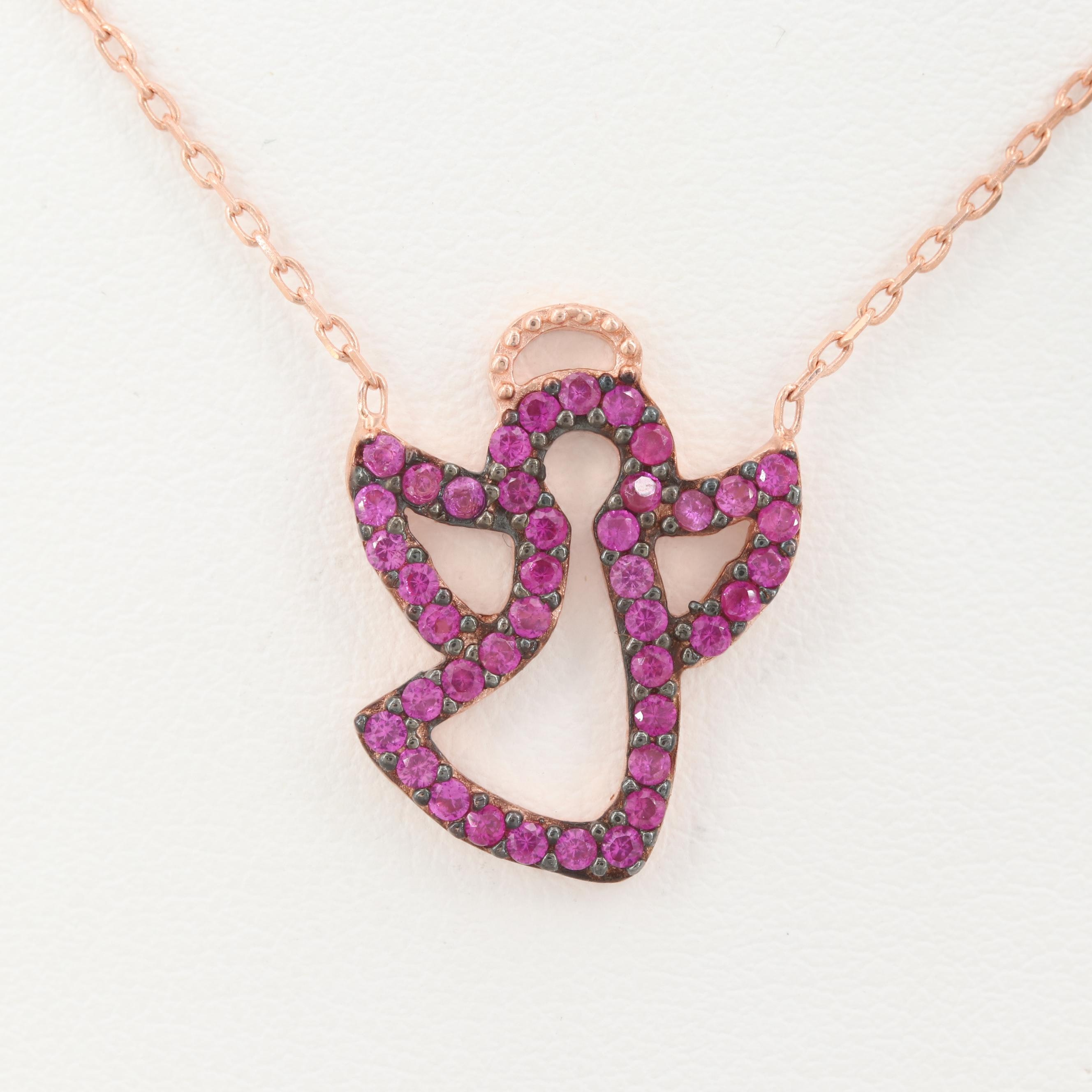 Rose Gold Wash on Sterling Silver Synthetic Ruby Angel Pendant Necklace
