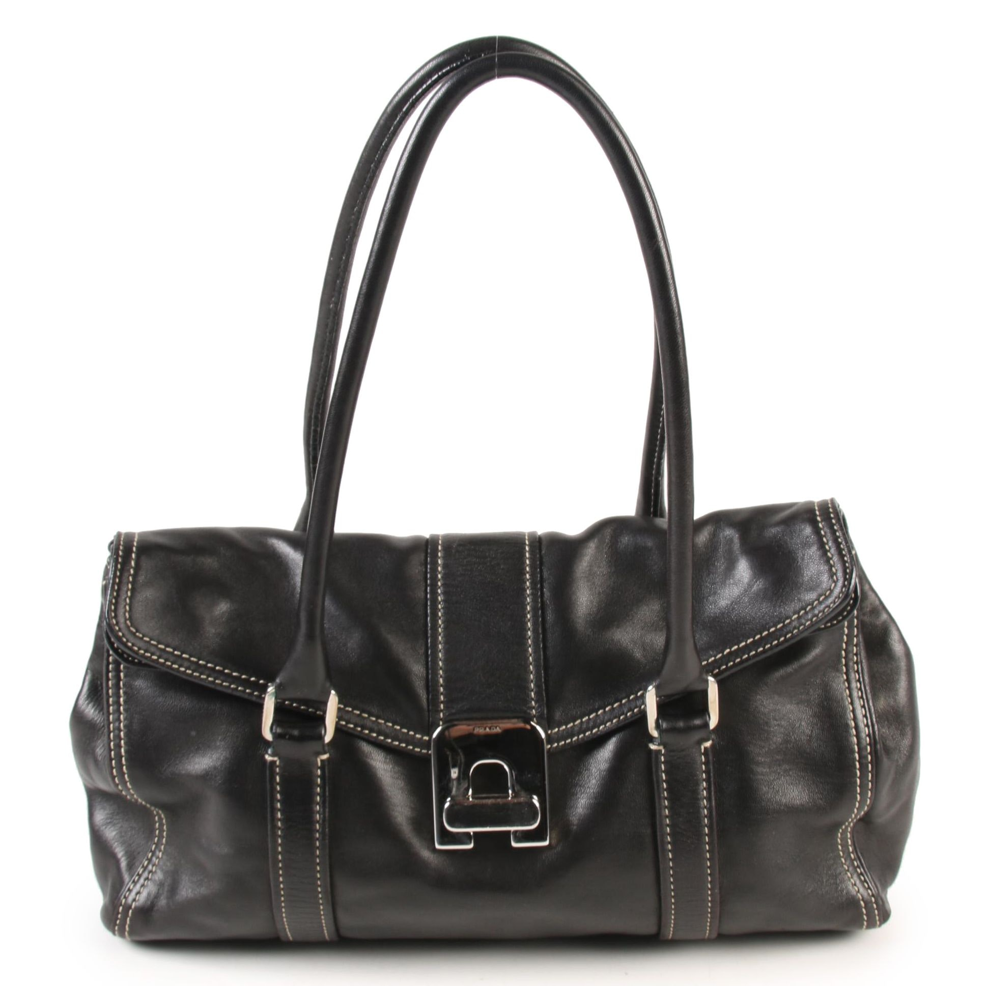 Prada Flap Front Turn Lock Shoulder Bag in Black Leather