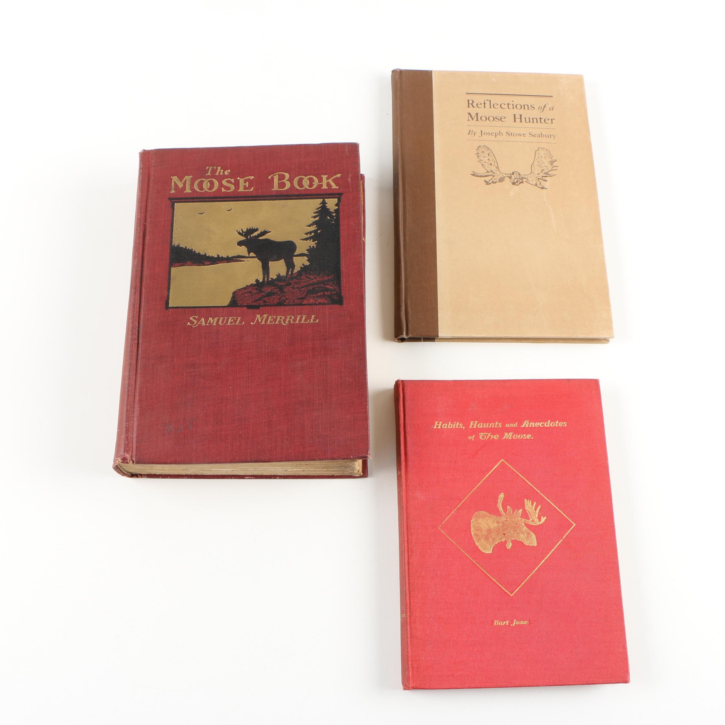 "Books on Moose featuring 1920 ""The Moose Book"" by Samuel Merrill"
