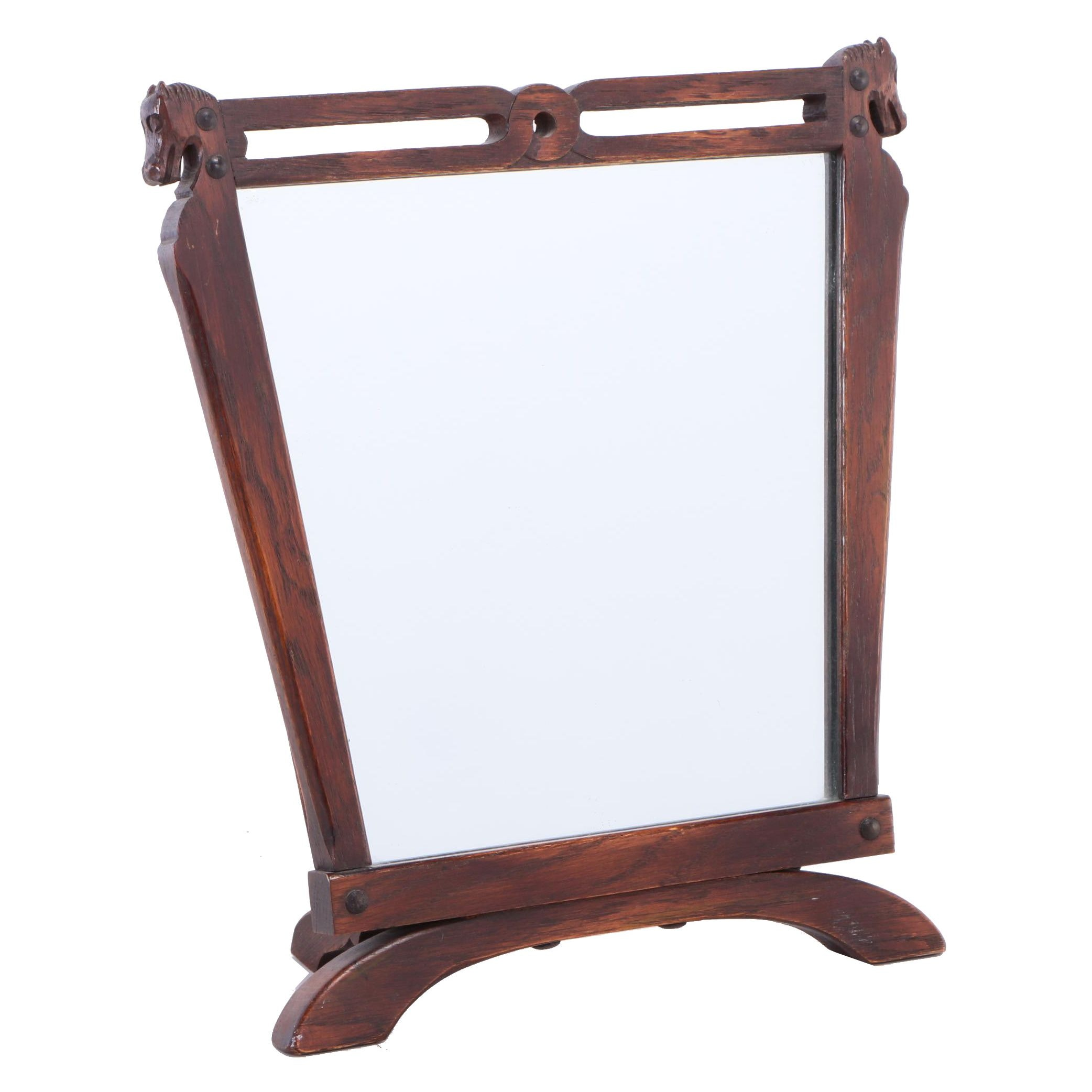 Carved Oak Tabletop Mirror with Horsehead Finials, 20th Century