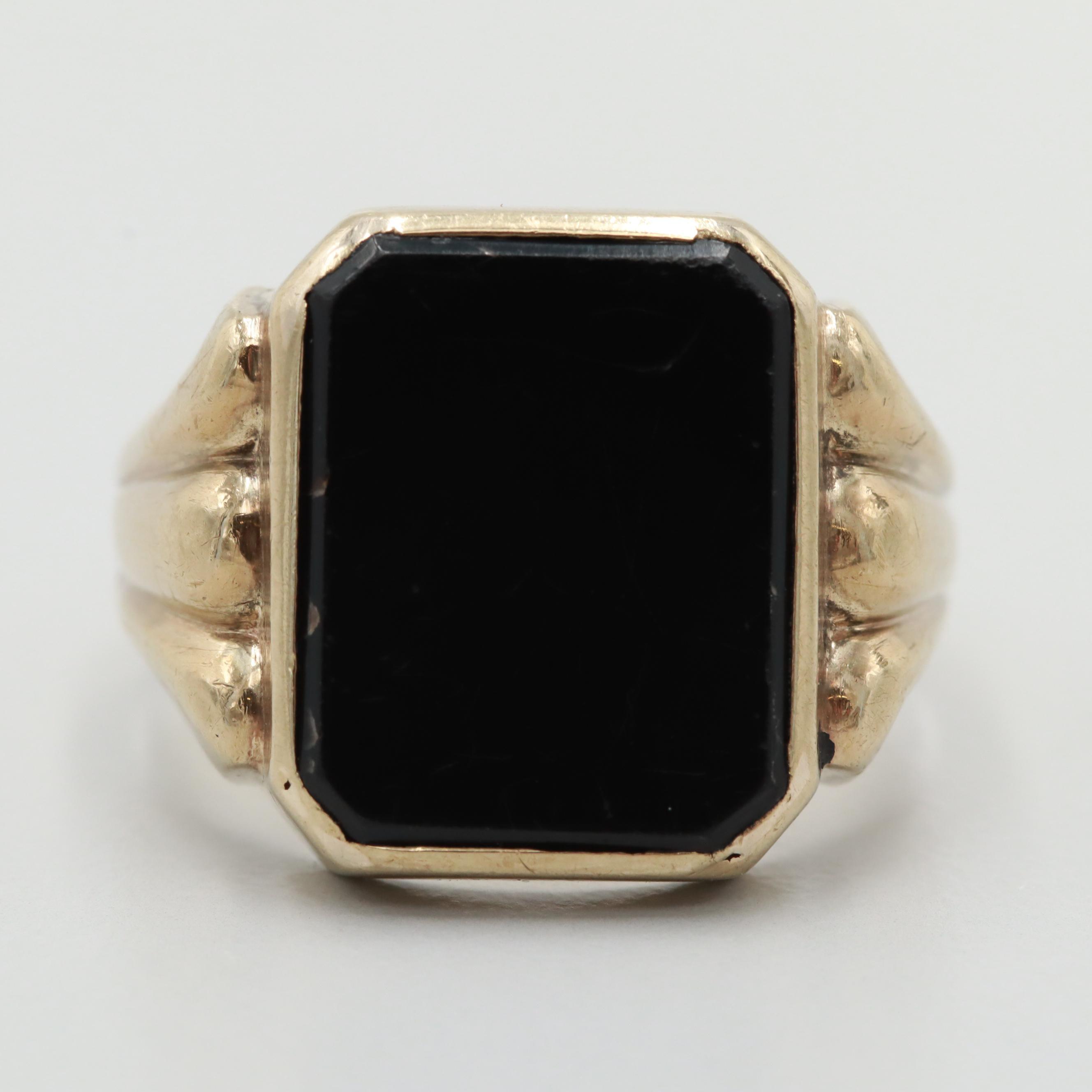 Retro 8K Yellow Gold Black Onyx Ring