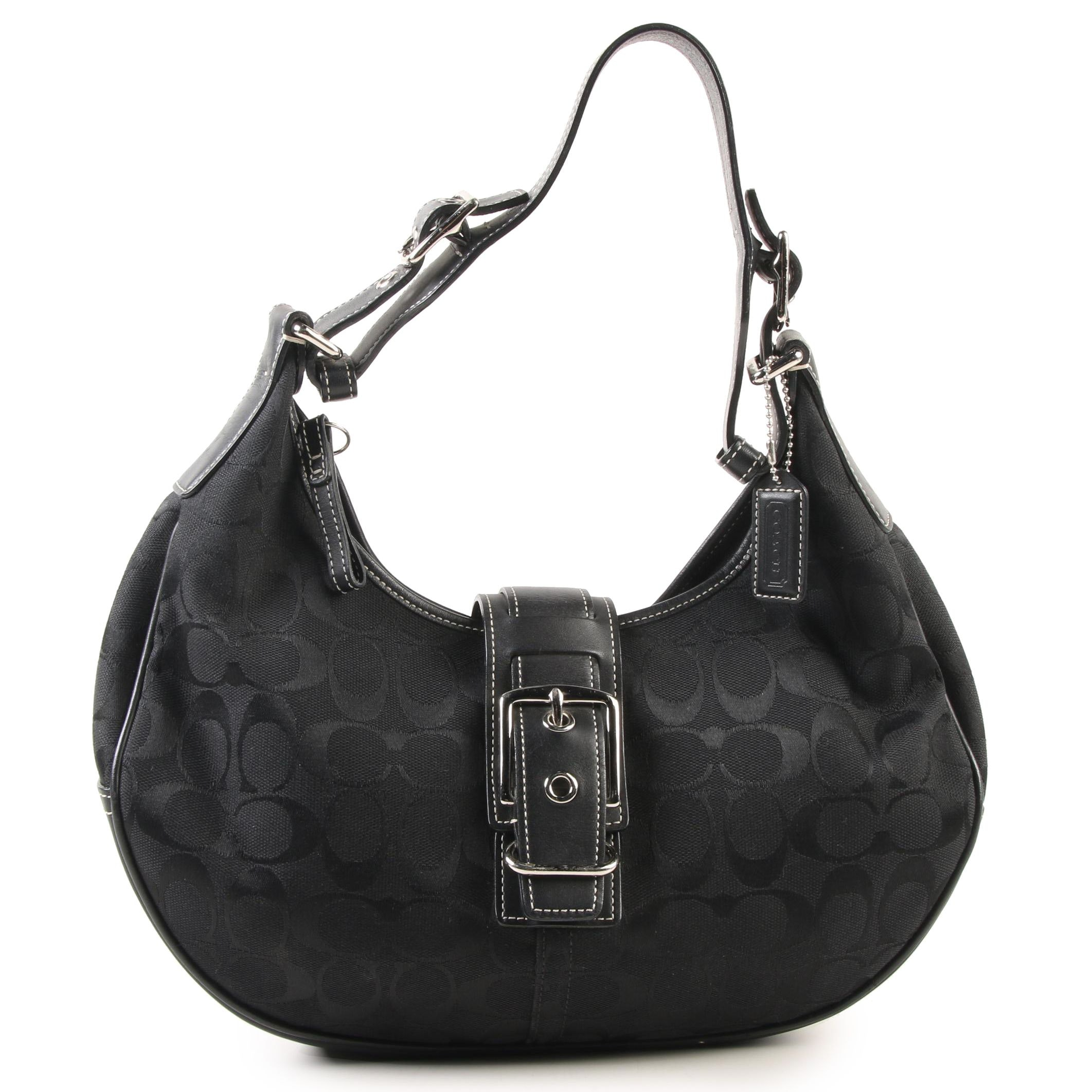 Coach Soho Buckle Hobo Bag in Black Jacquard Monogram Canvas and Leather