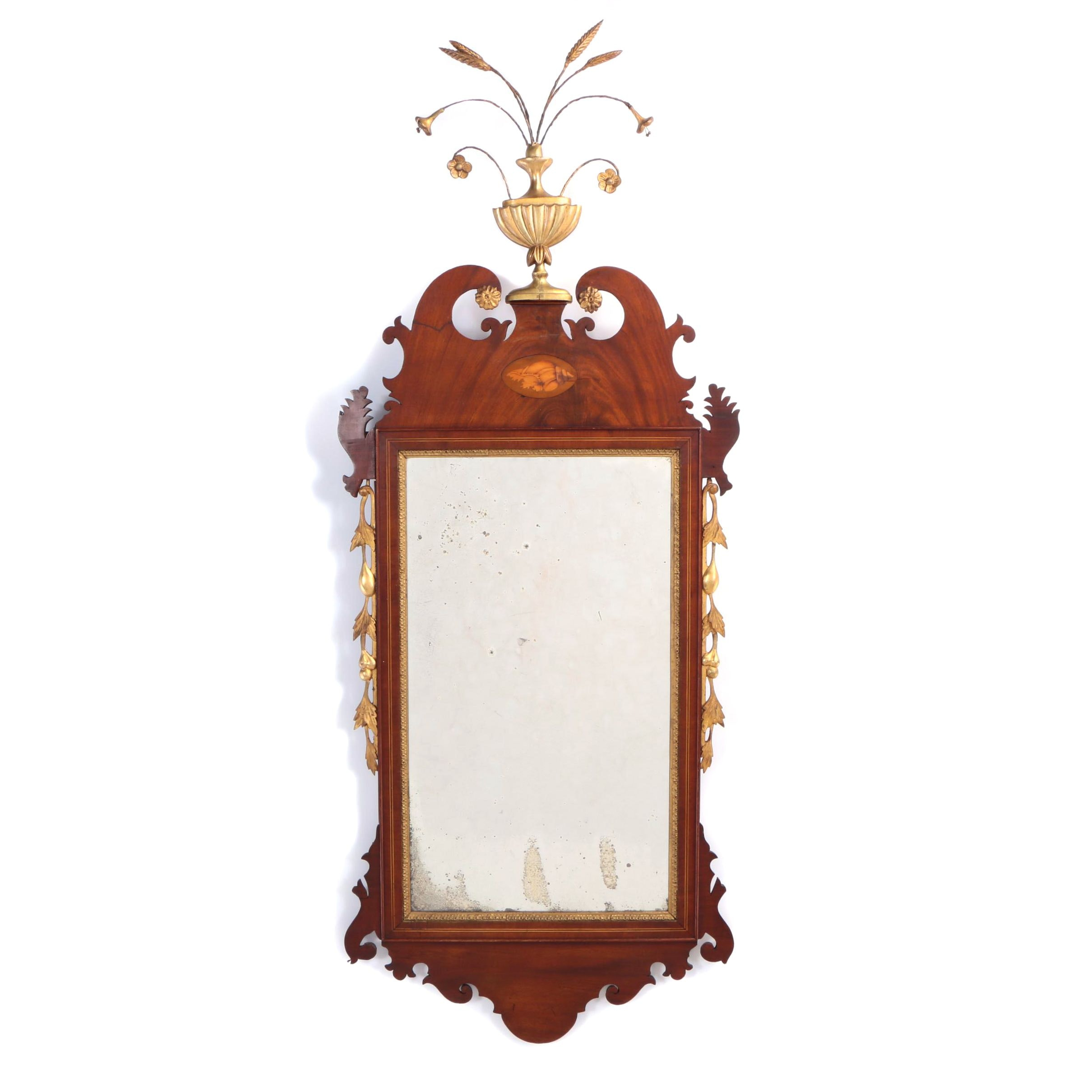 George III Style Mahogany, Marquetry, and Parcel-Gilt Fret-Carved Mirror