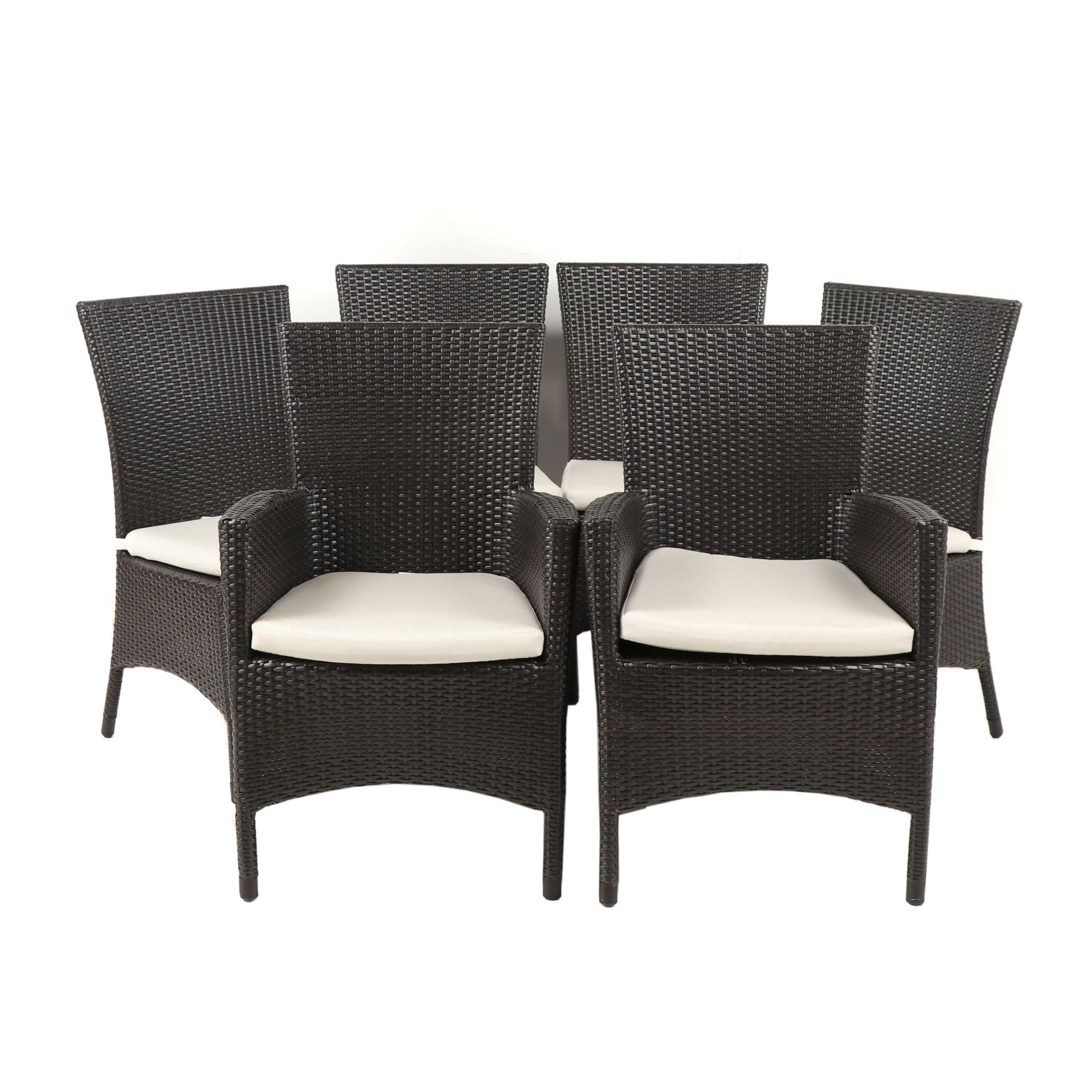 Contemporary Ratana Wicker Style Dining Chairs, Set of Six