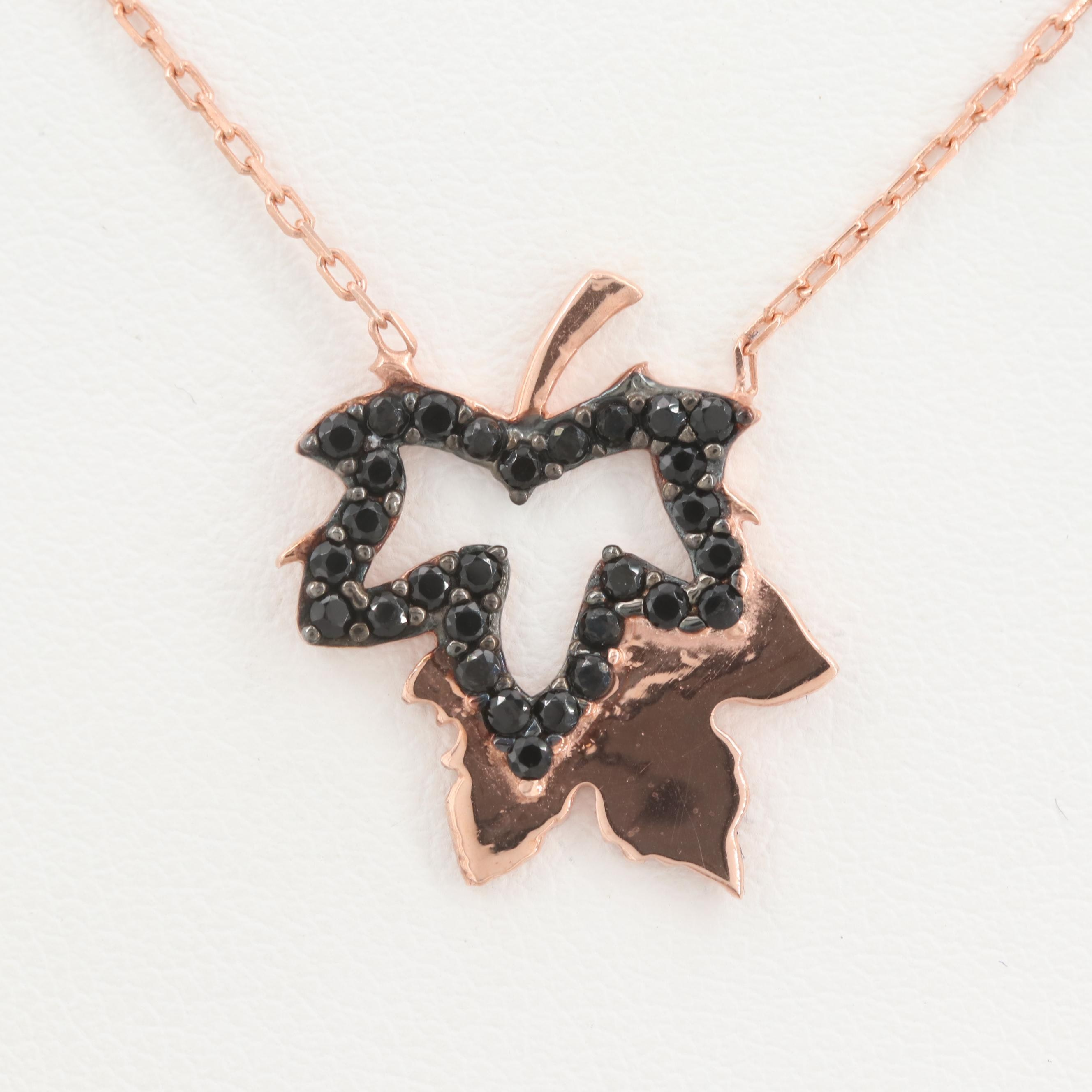 Rose Gold Wash on Sterling Silver Synthetic Spinel Leaf Pendant Necklace