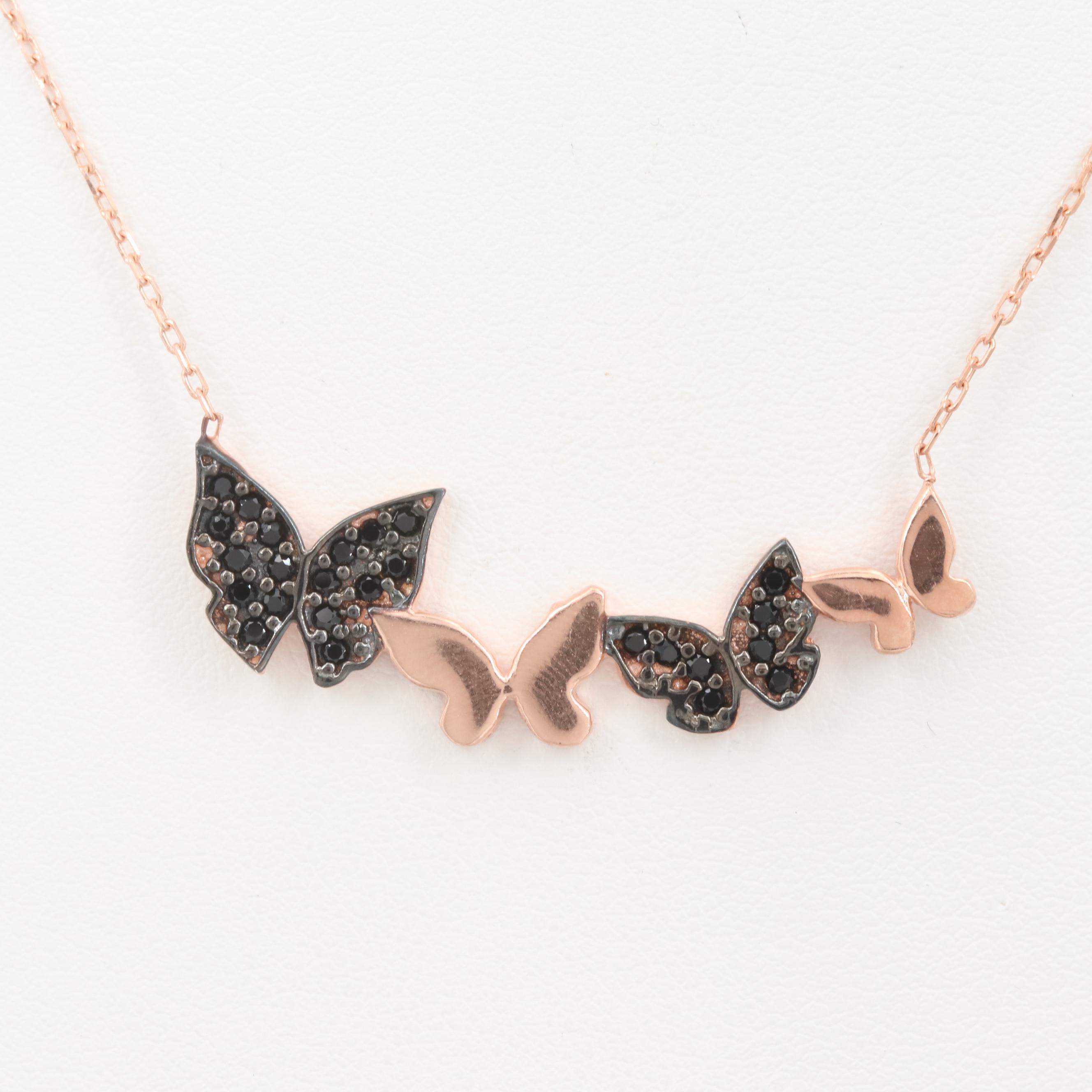 Rose Gold Wash on Sterling Silver Synthetic Spinel Butterfly Necklace
