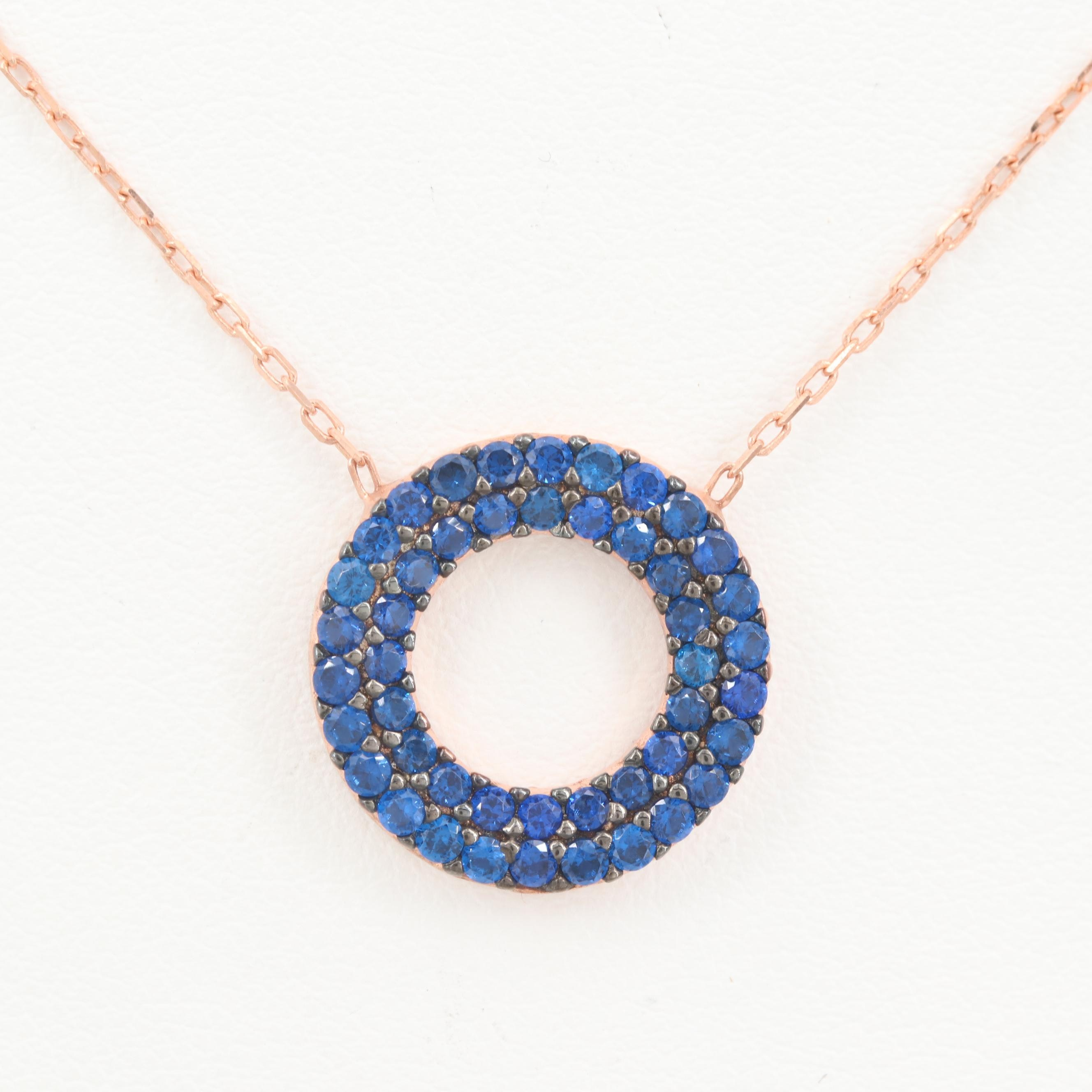 Rose Gold Wash on Sterling Silver Synthetic Spinel Necklace