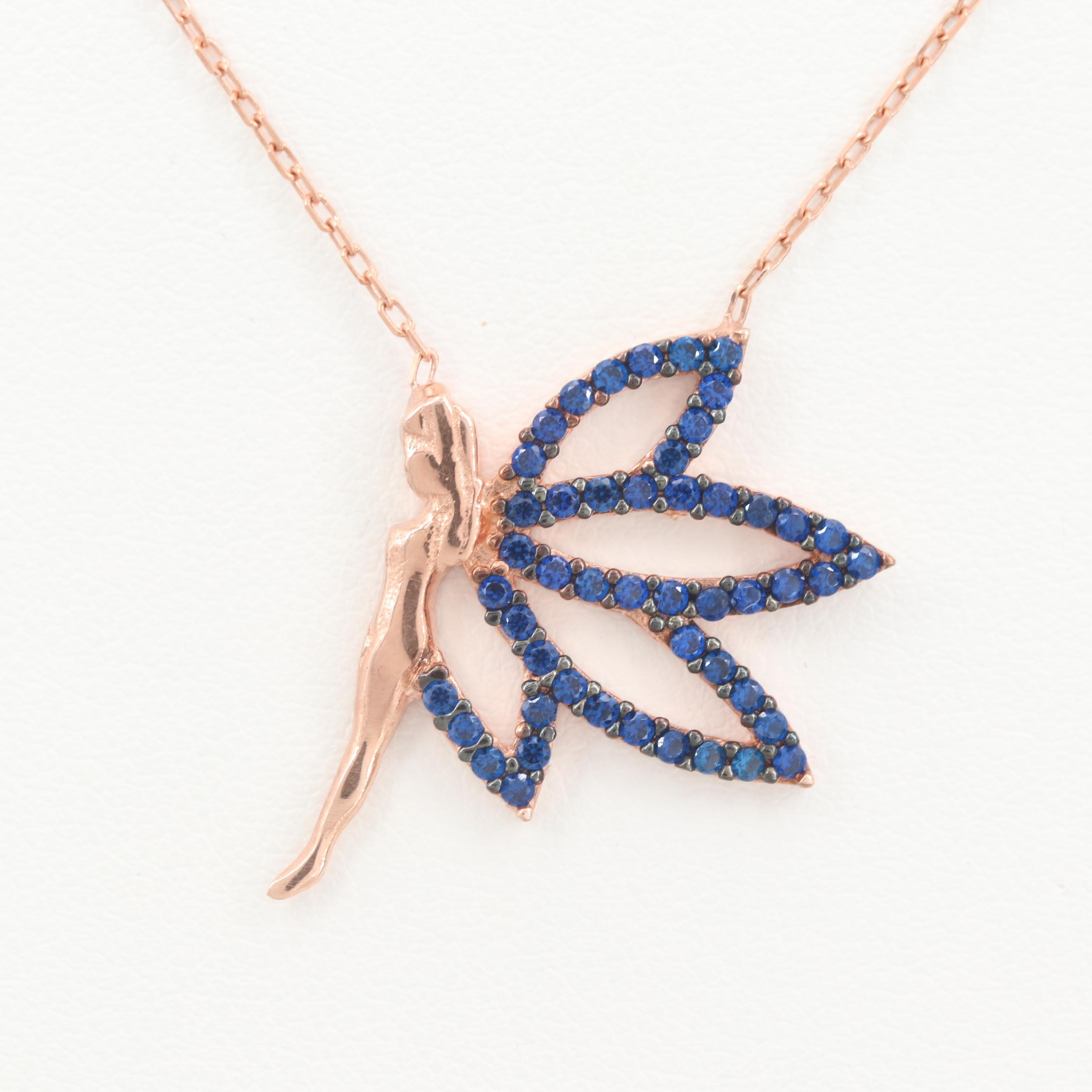 Rose Gold Wash on Sterling Silver Fairy Synthetic Spinel Pendant Necklace