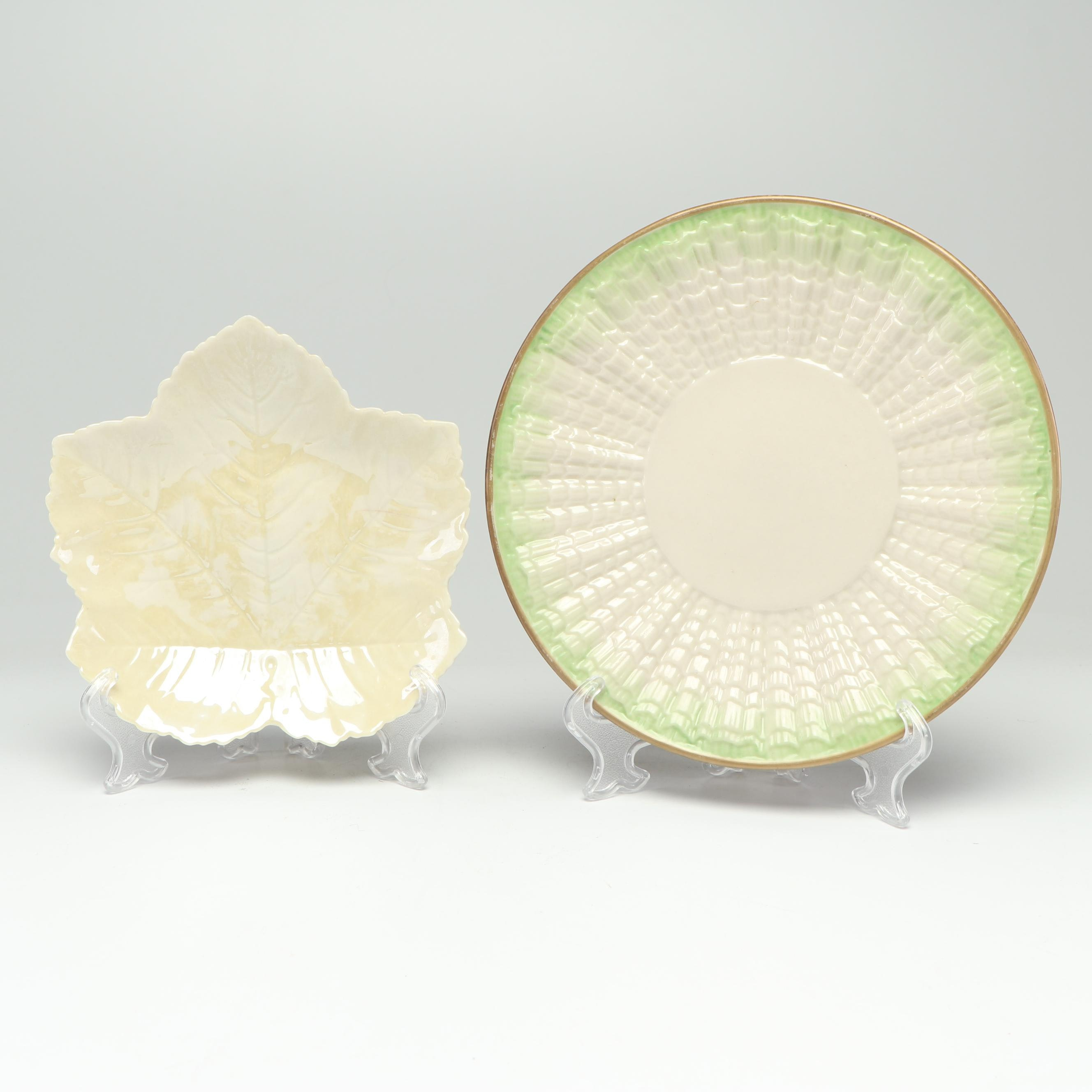 "Belleek Pottery ""Sycamore Leaf"" and ""Tridacna Green"" Plates, 1920s-1950s"
