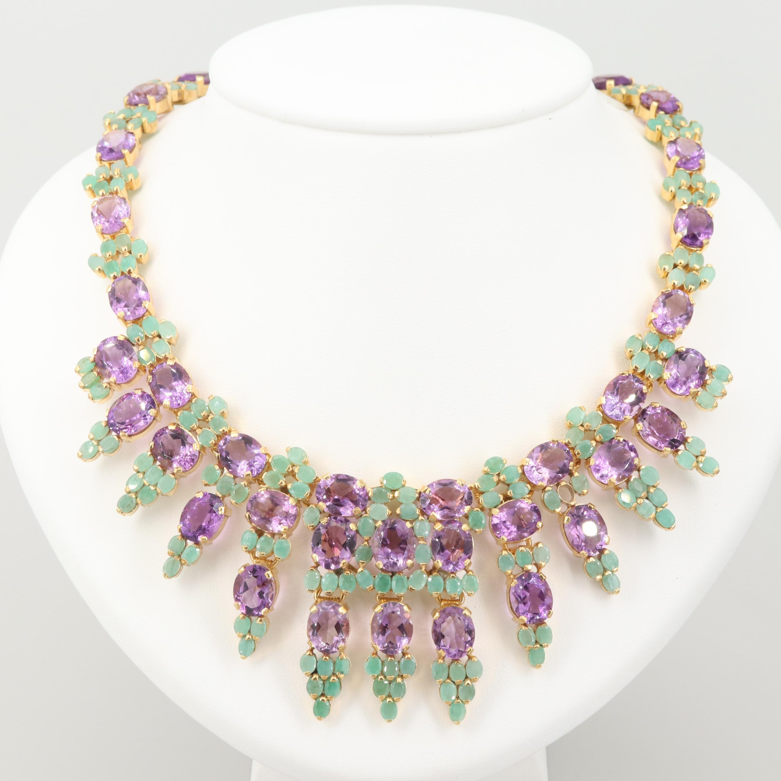 Gold Wash on Sterling Silver Amethyst and Emerald Necklace