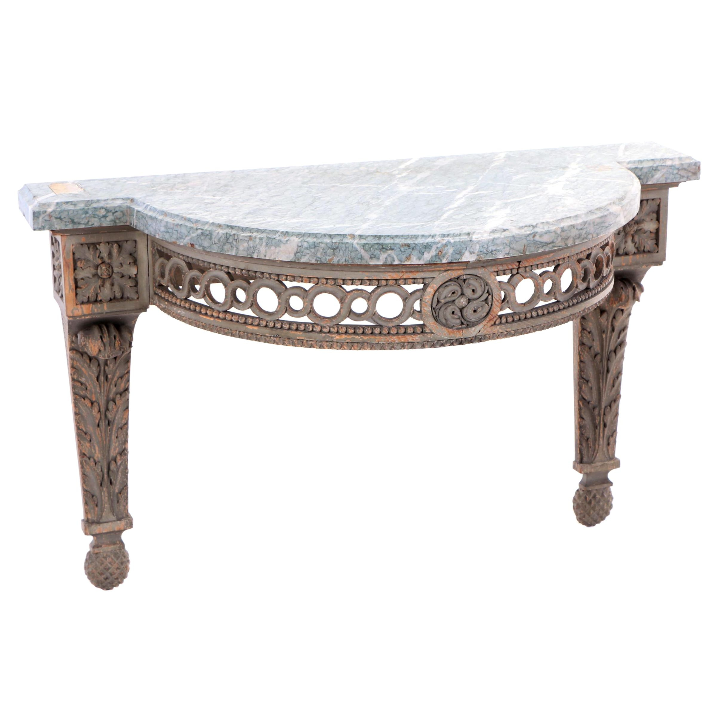 Louis XV Style Painted Beech and Green Marble Bracket Shelf, 20th Century
