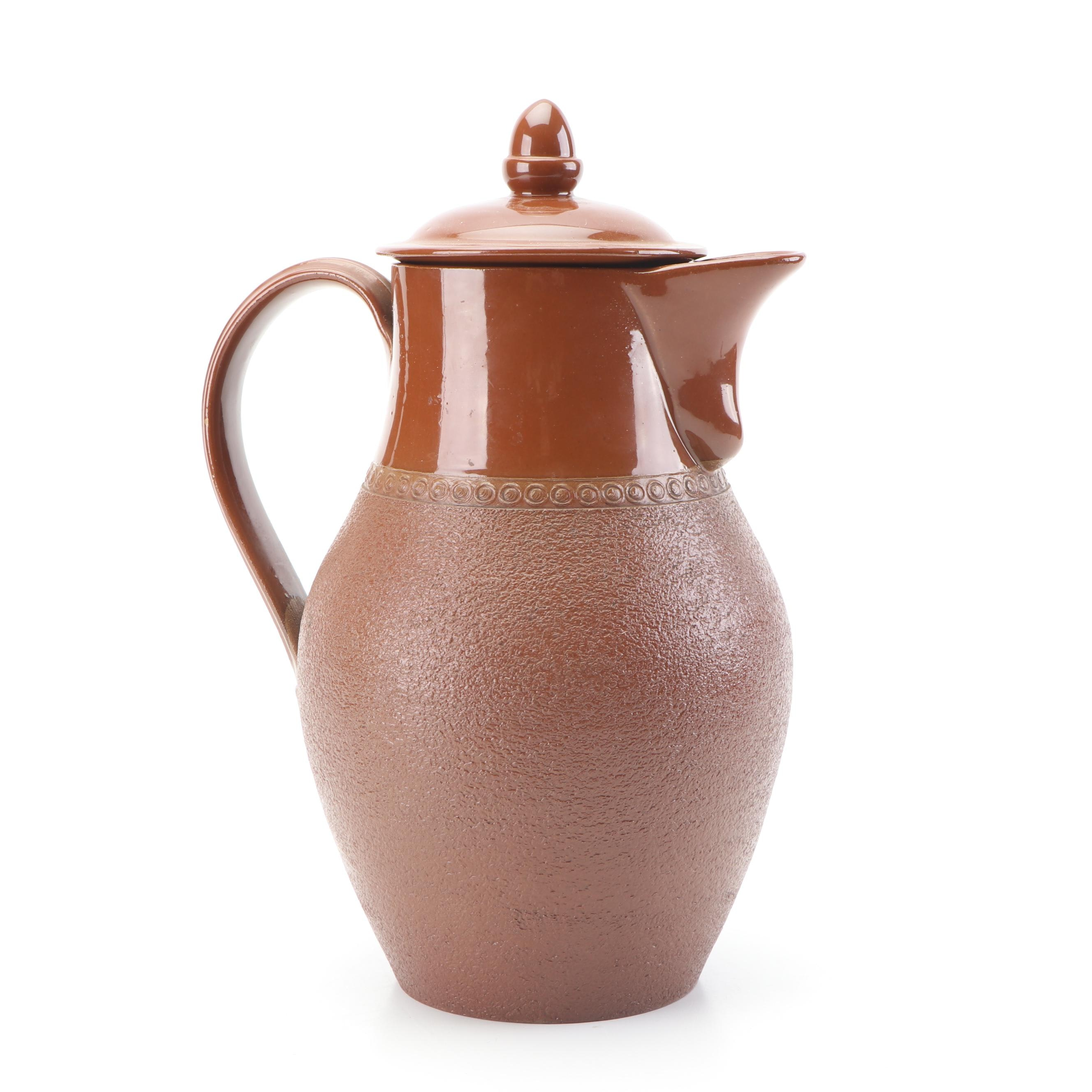 English Redware Pottery Straining Pitcher, Early 20th Century