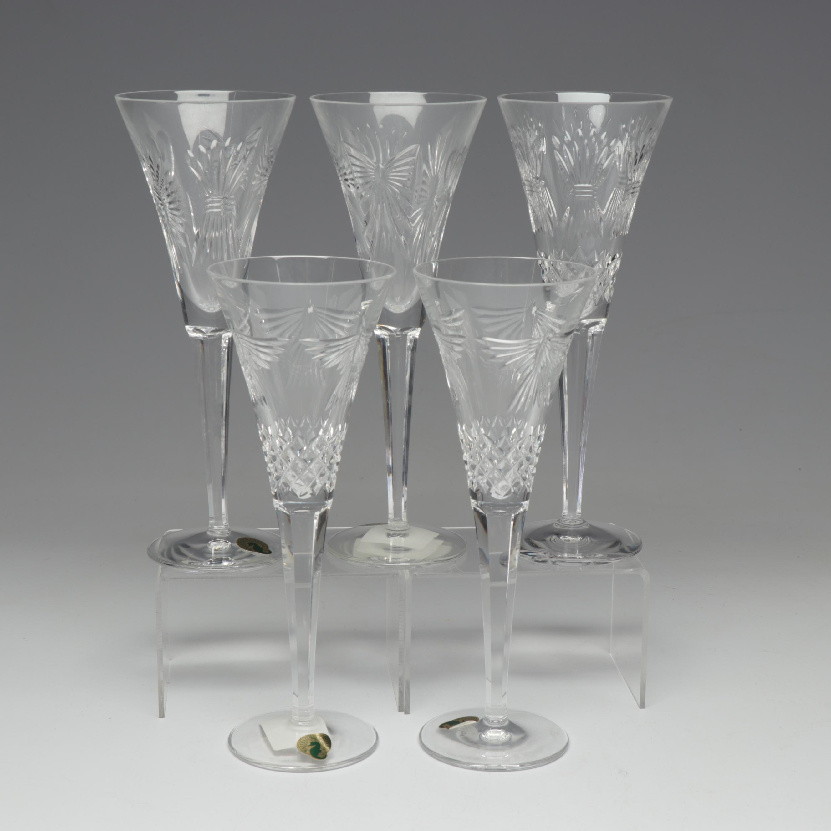 """Waterford Crystal """"Millennium"""" and """"Peace"""" Champagne Flutes"""