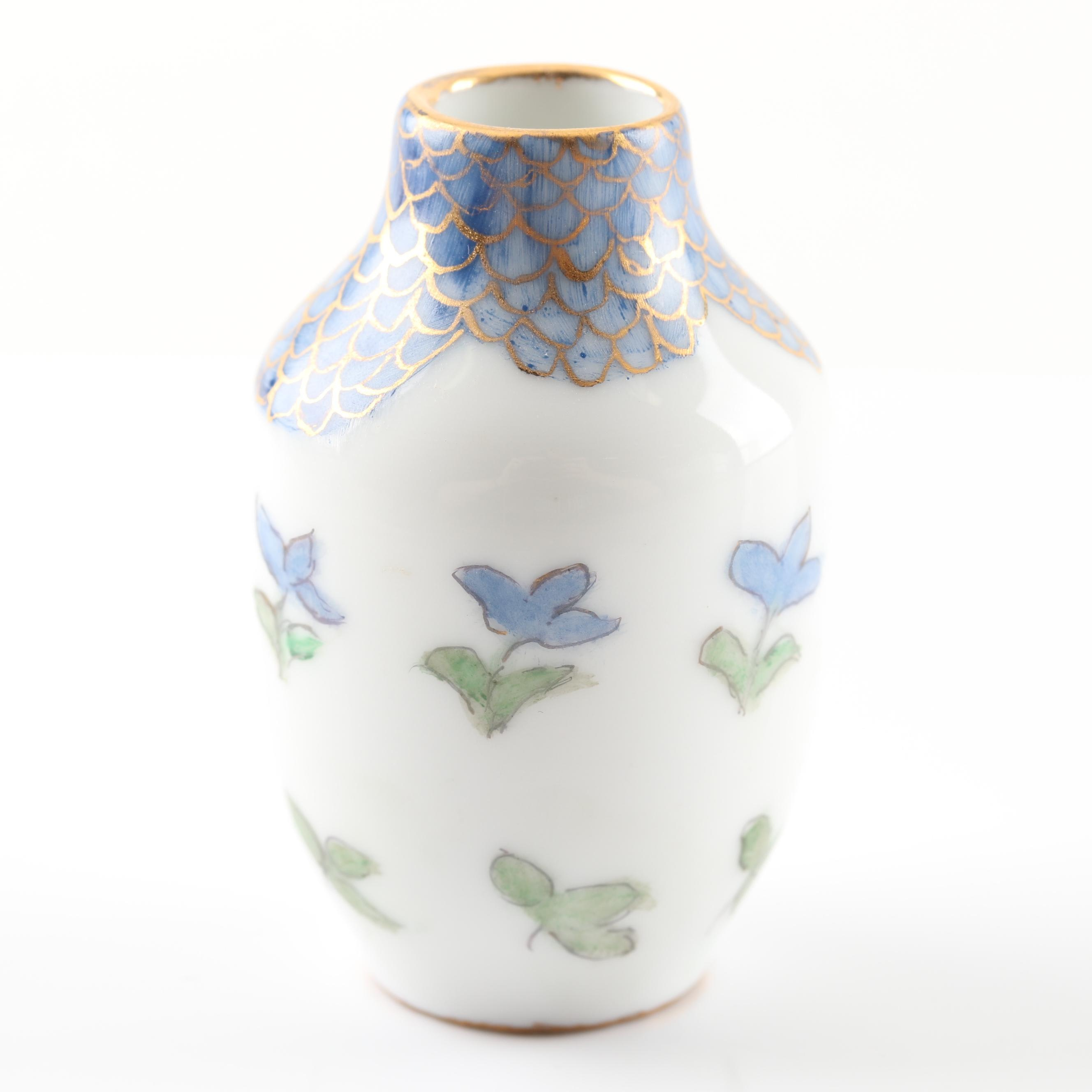 Hand Painted Limoges Porcelain Floral Vase