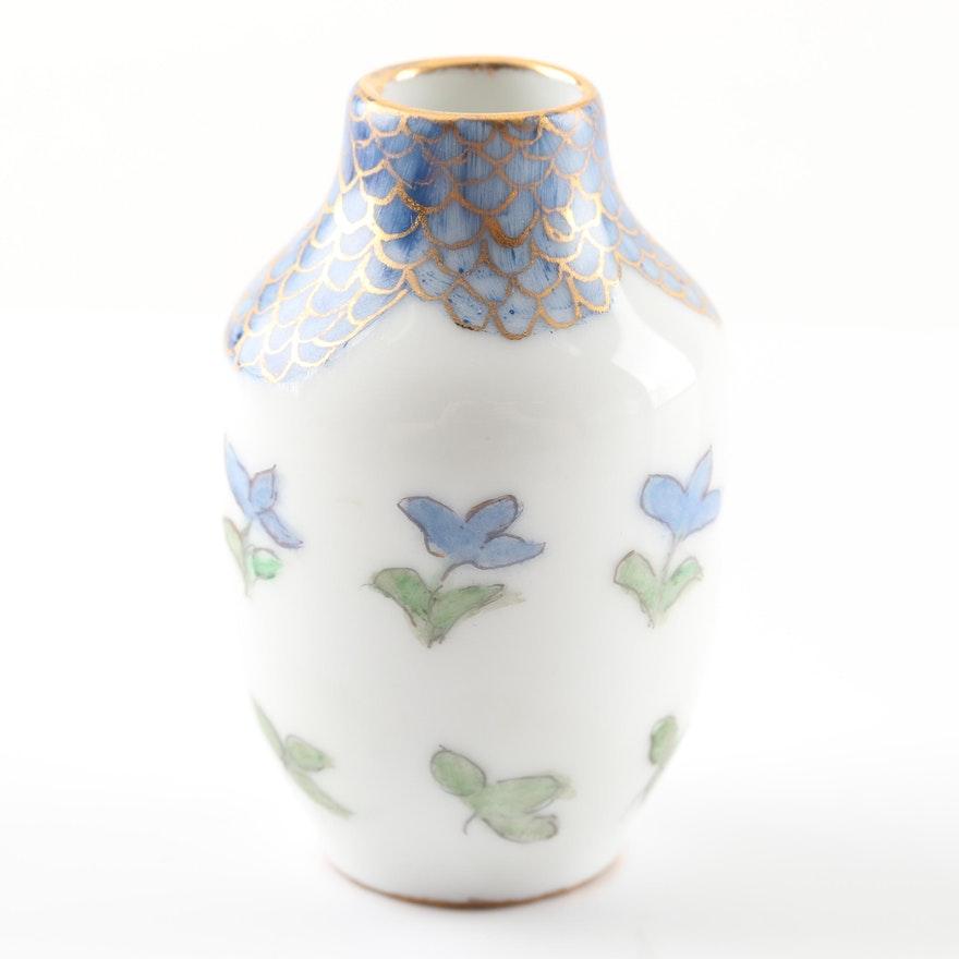 Hand-Painted Limoges Porcelain Floral Vase