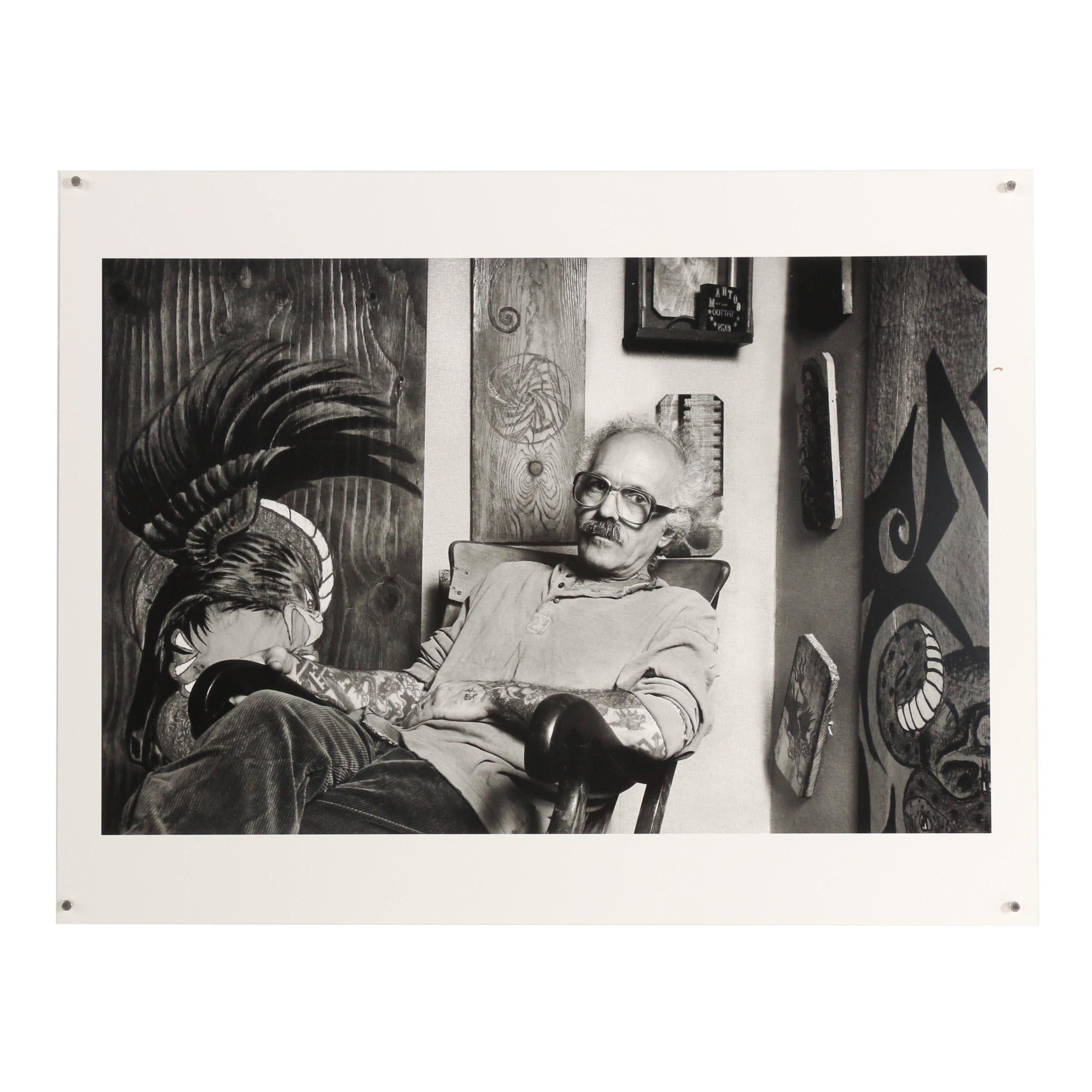 """John Wyatt Archival Inkjet Print """"Thom deVita, Tattoo Artist - 1995"""""""