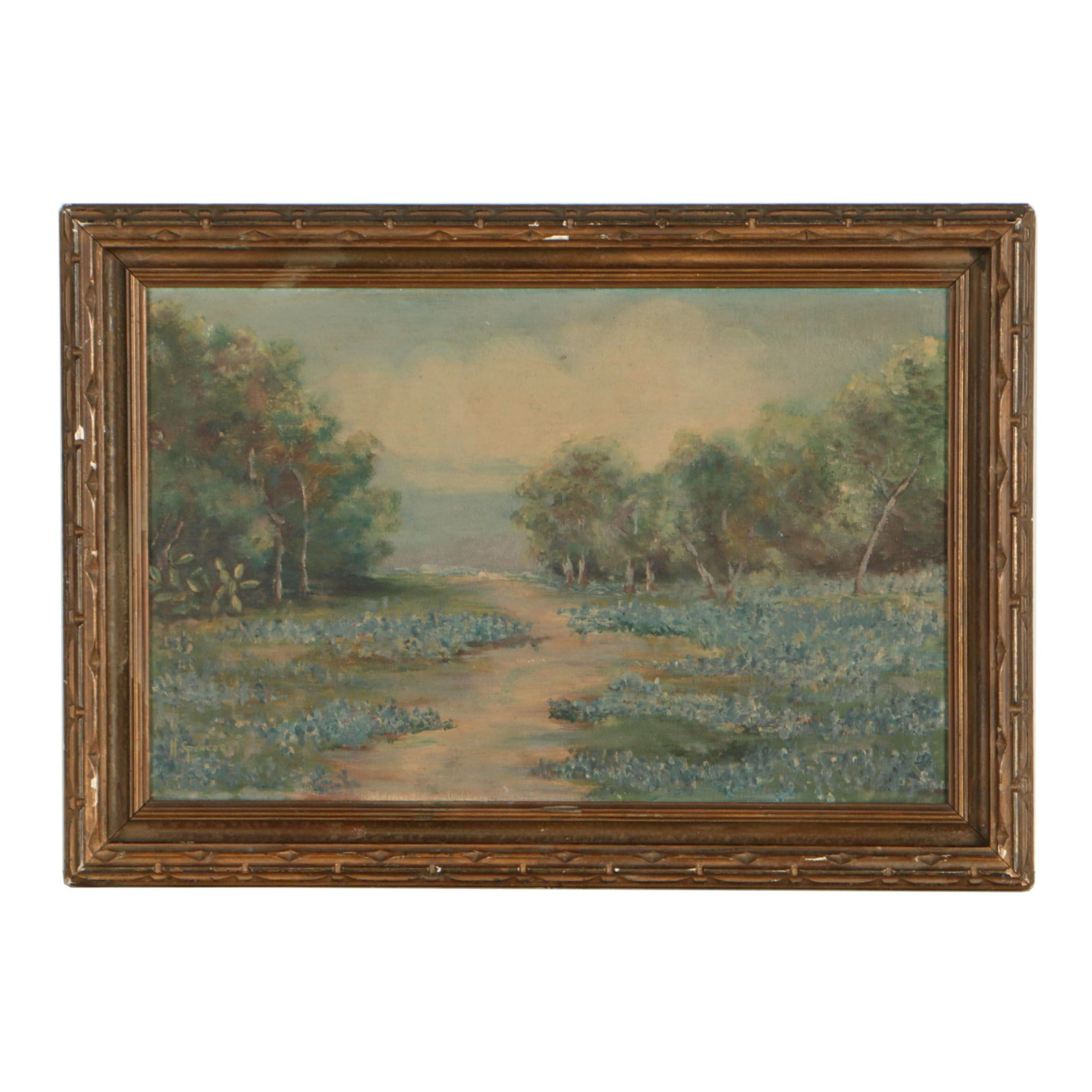 M. Spencer Landscape Oil Painting of Flourished Field