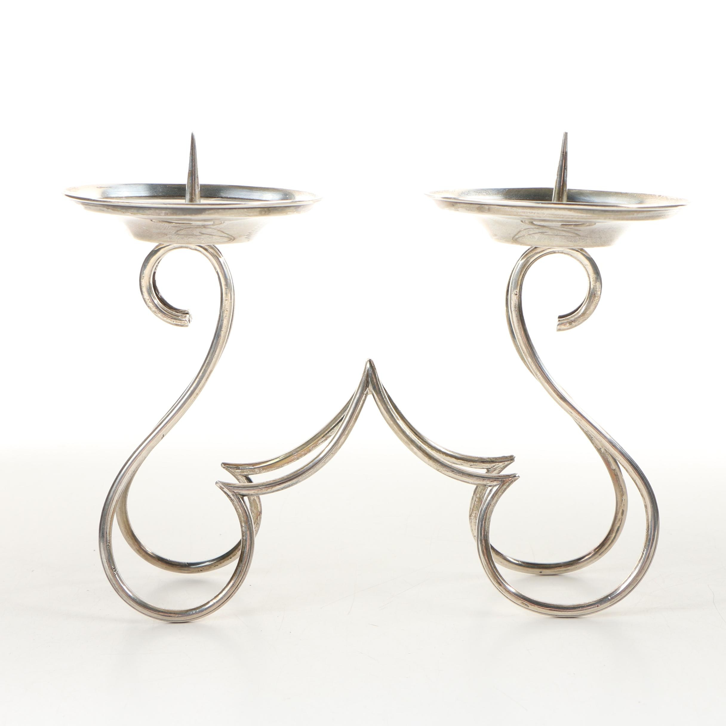 Mexican Sterling SIlver Double Pricket Candleholder