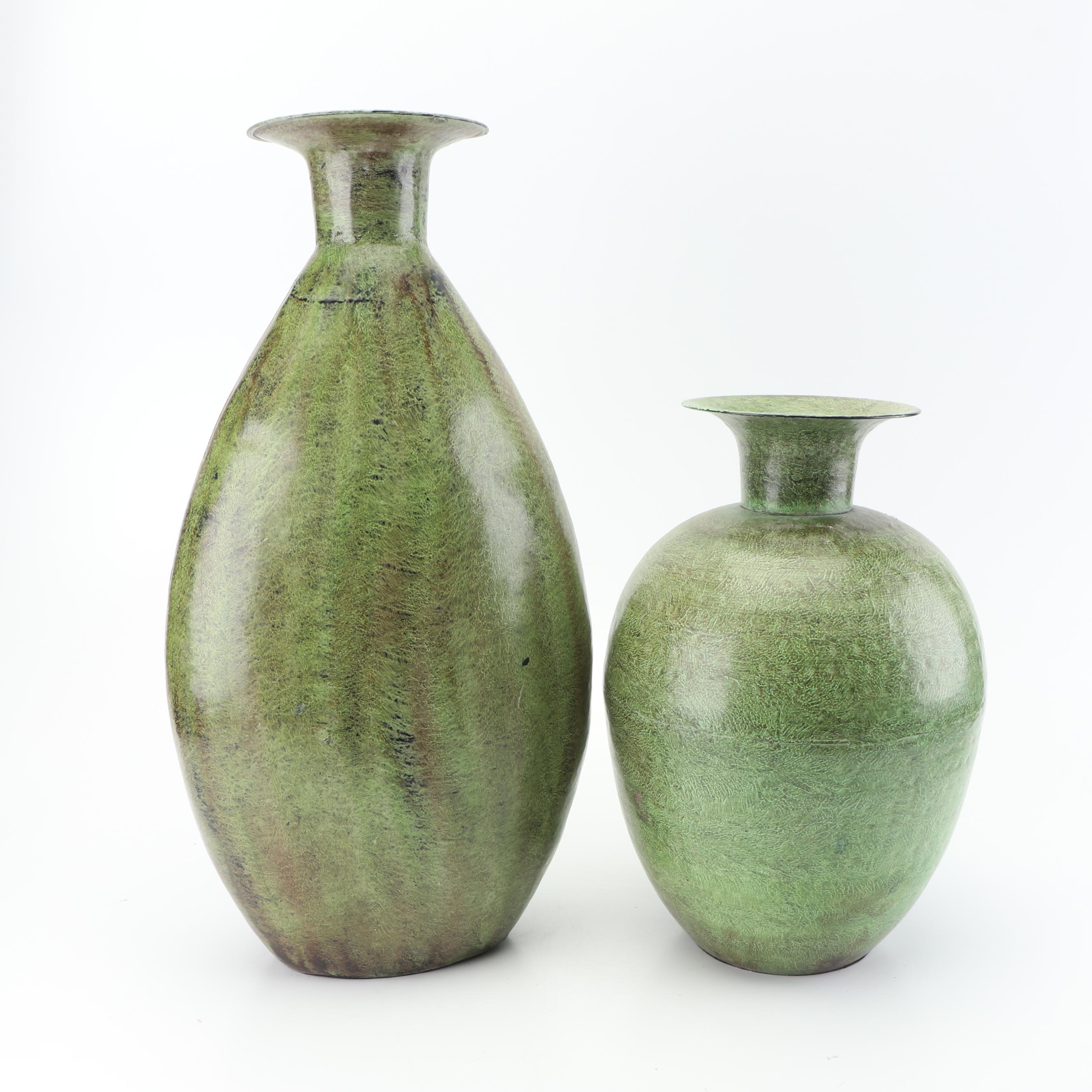 Pier 1 Green Patina Metal Floor Vases