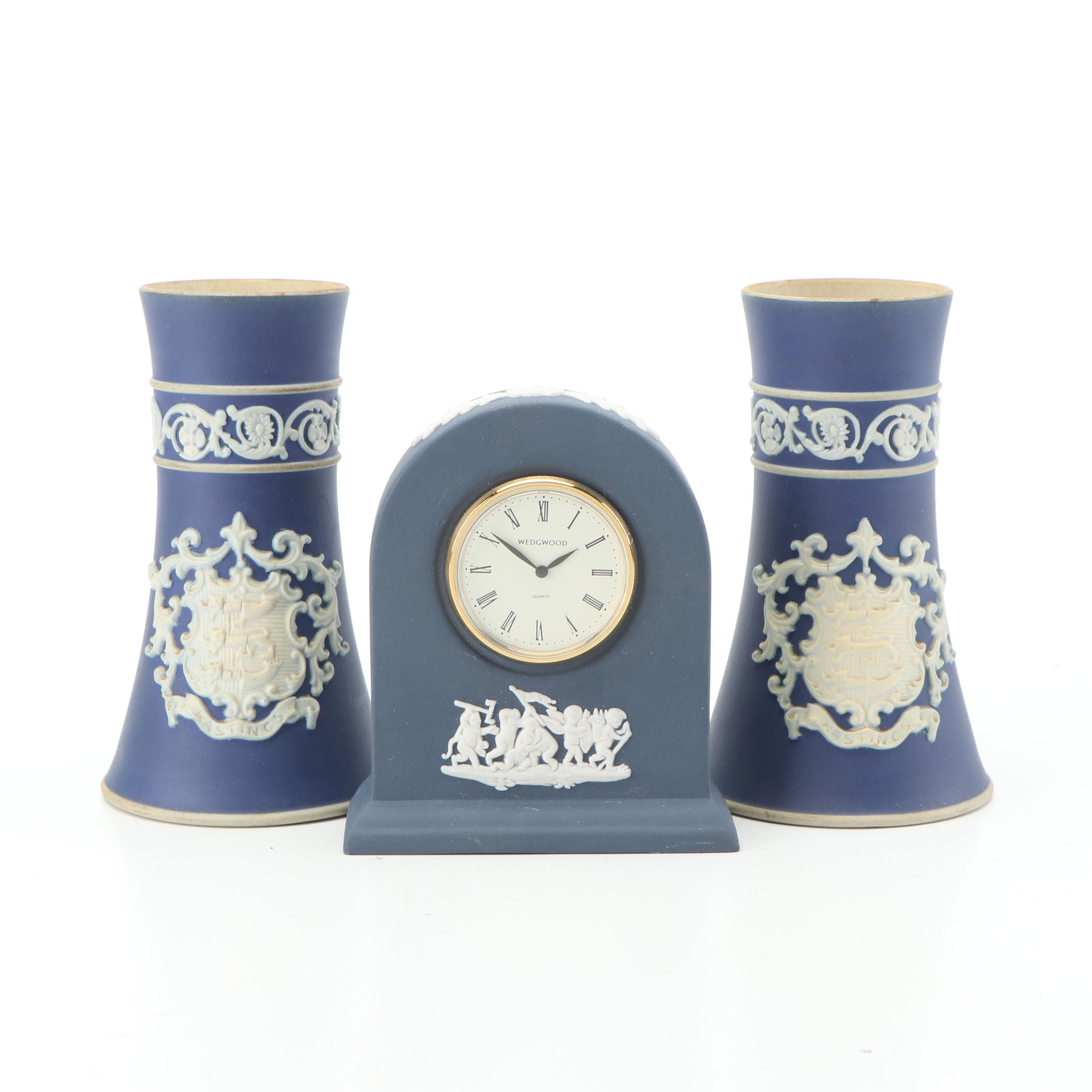 Wedgwood Adams Jasperware Bud Vases and Clock