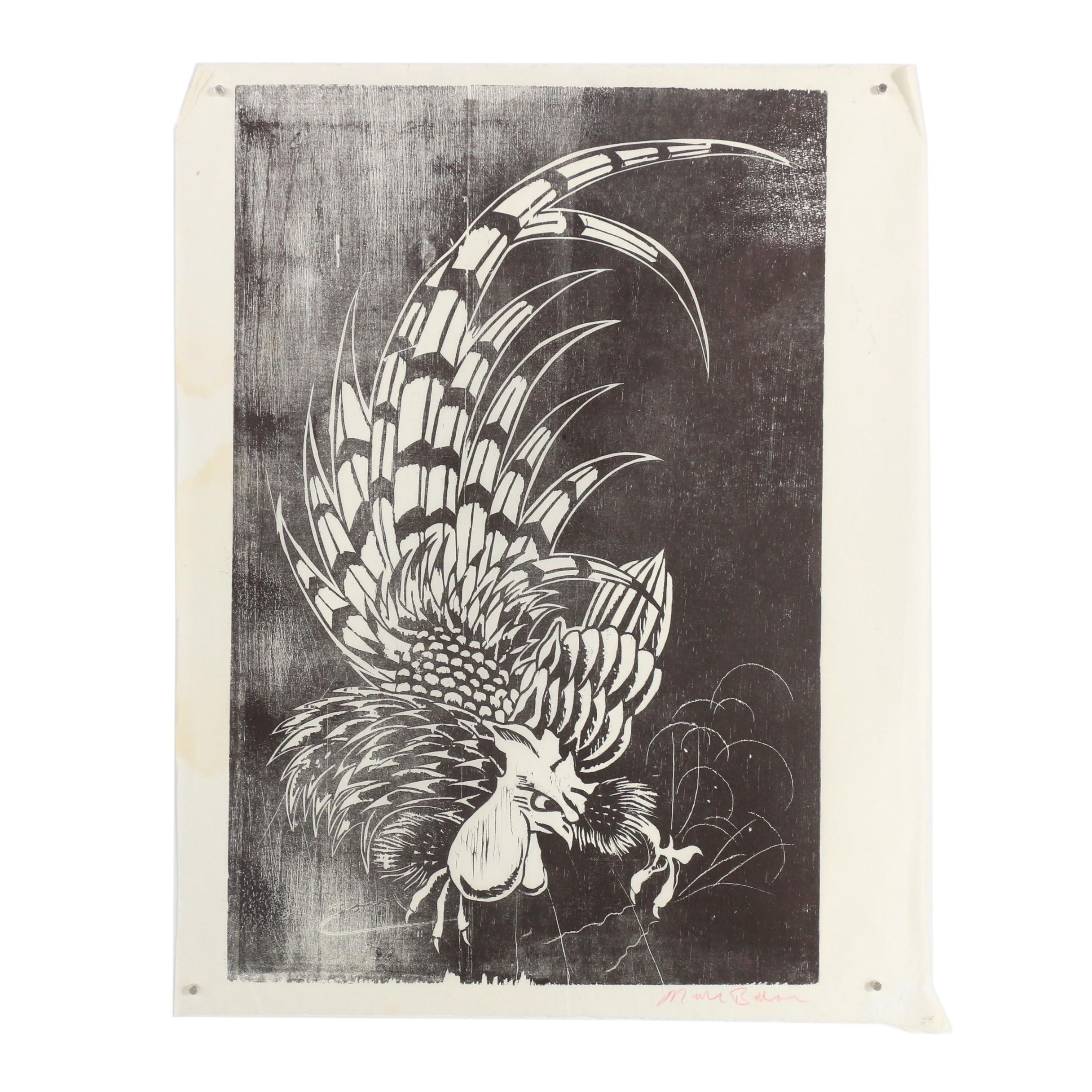 "Nick Bubash Woodblock ""Fighting Cock"""
