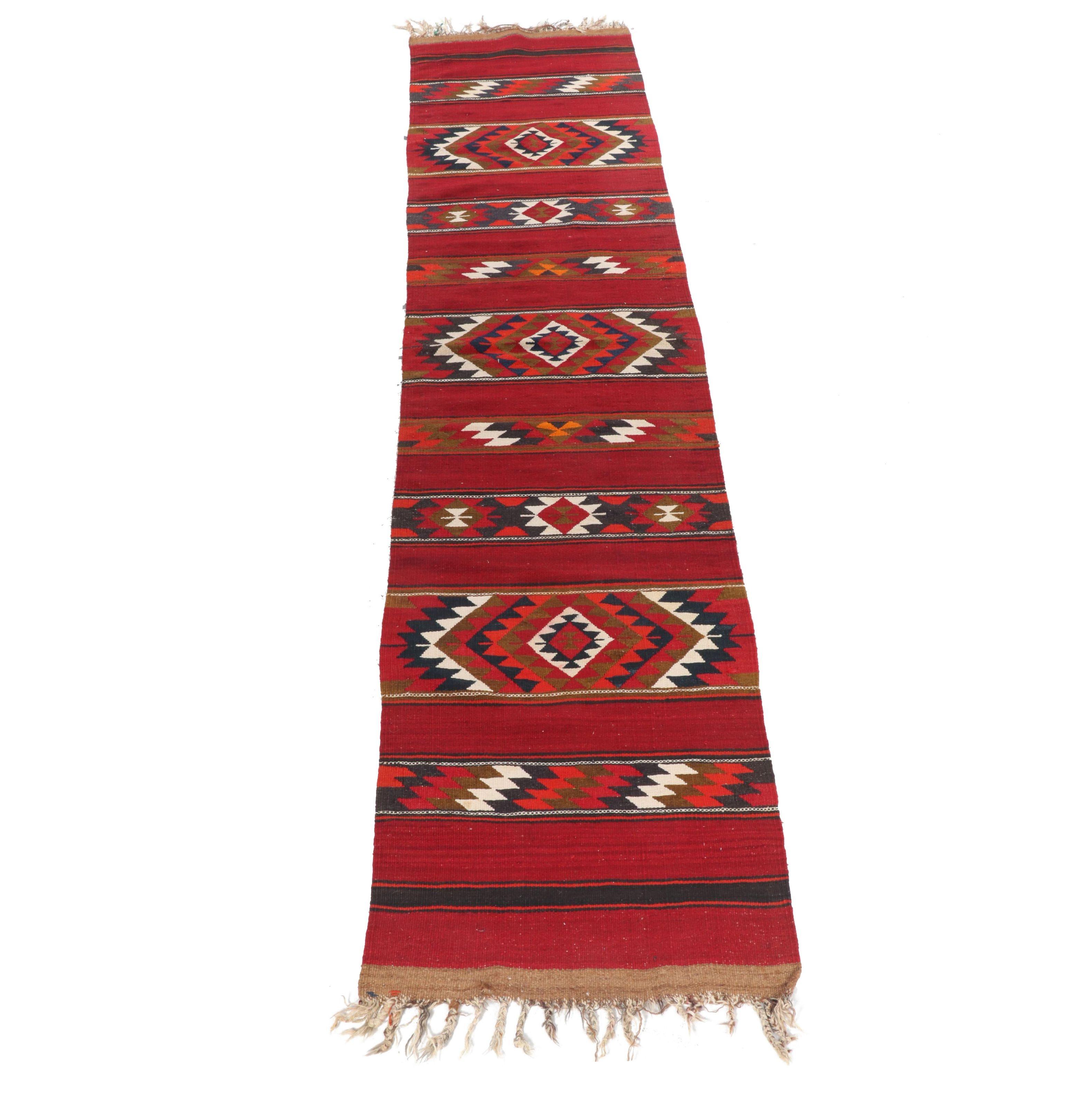 Handwoven Turkish Kilim Wool Long Runner