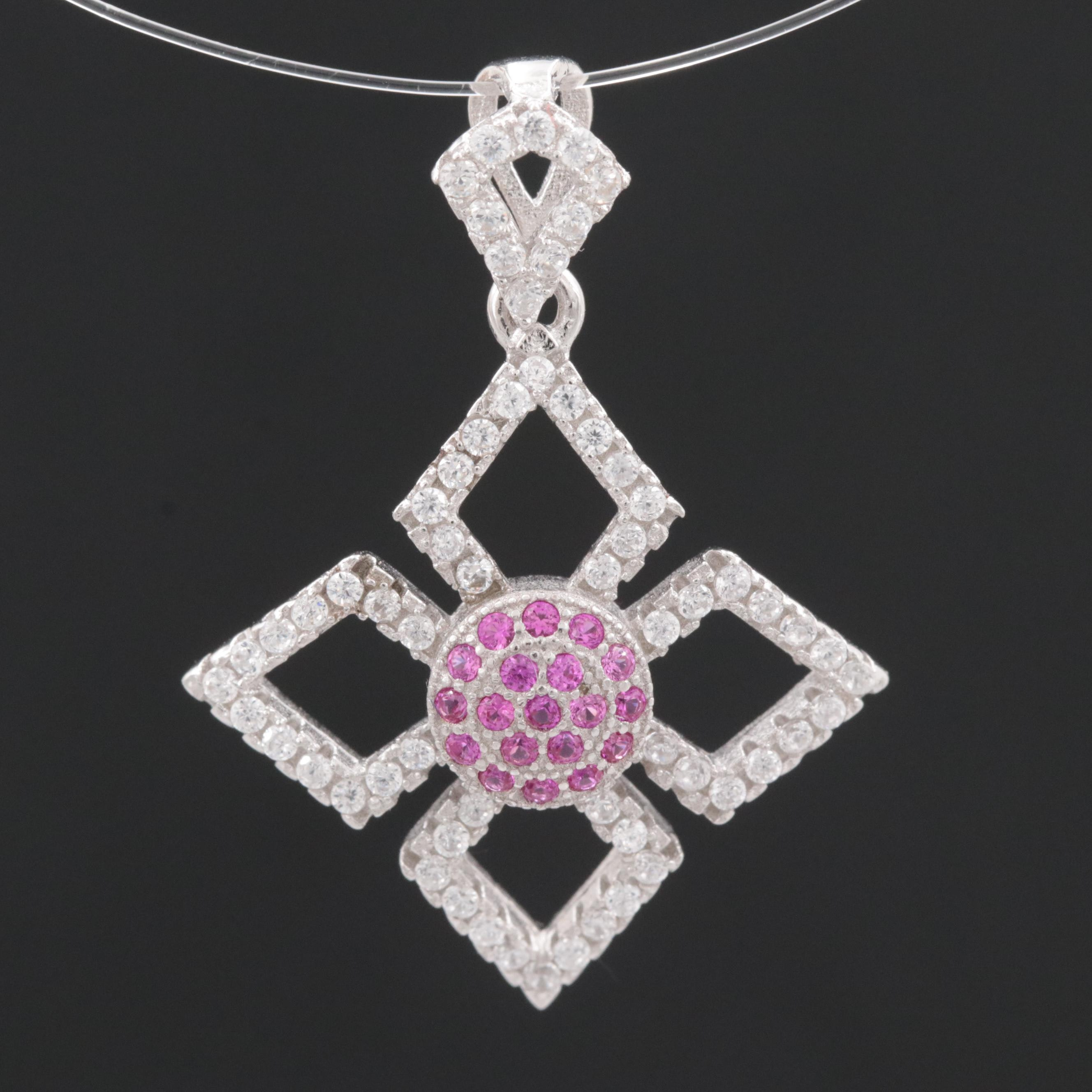 Sterling Silver Synthetic Ruby and Cubic Zirconia Pendant