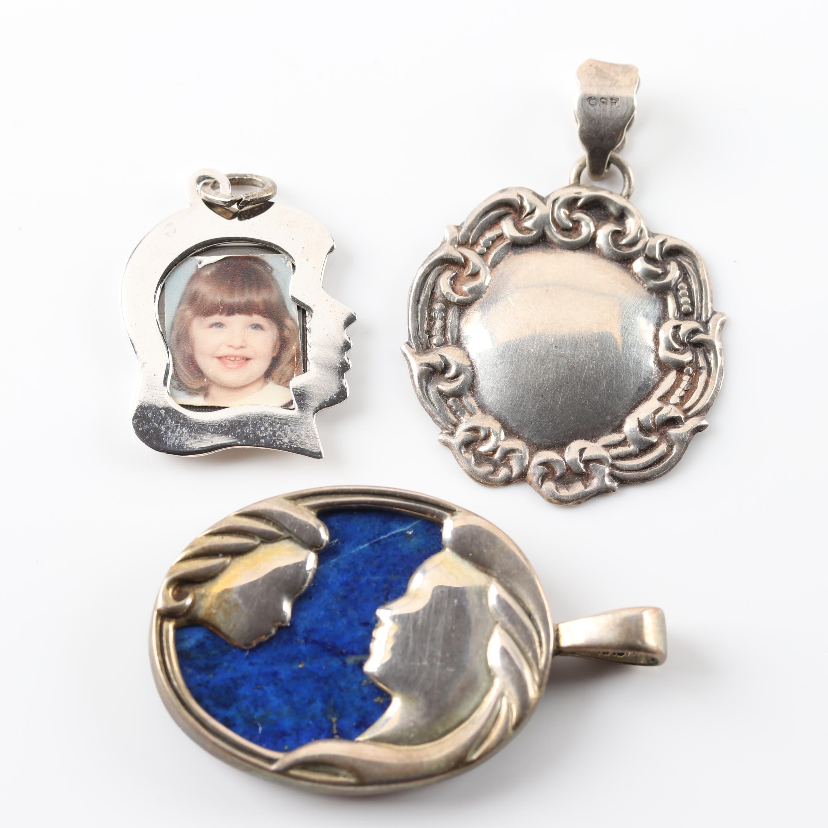 Sterling Silver Pendants Featuring Lapis Lazuli Mother and Child Pendant