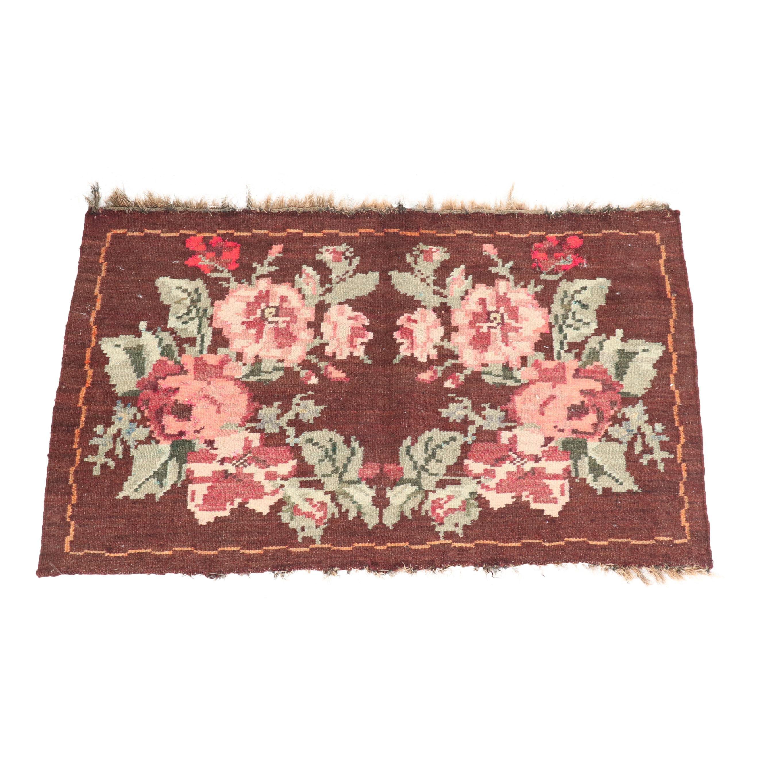 Handwoven Turkish Aubusson Style Wool Kilim Rug