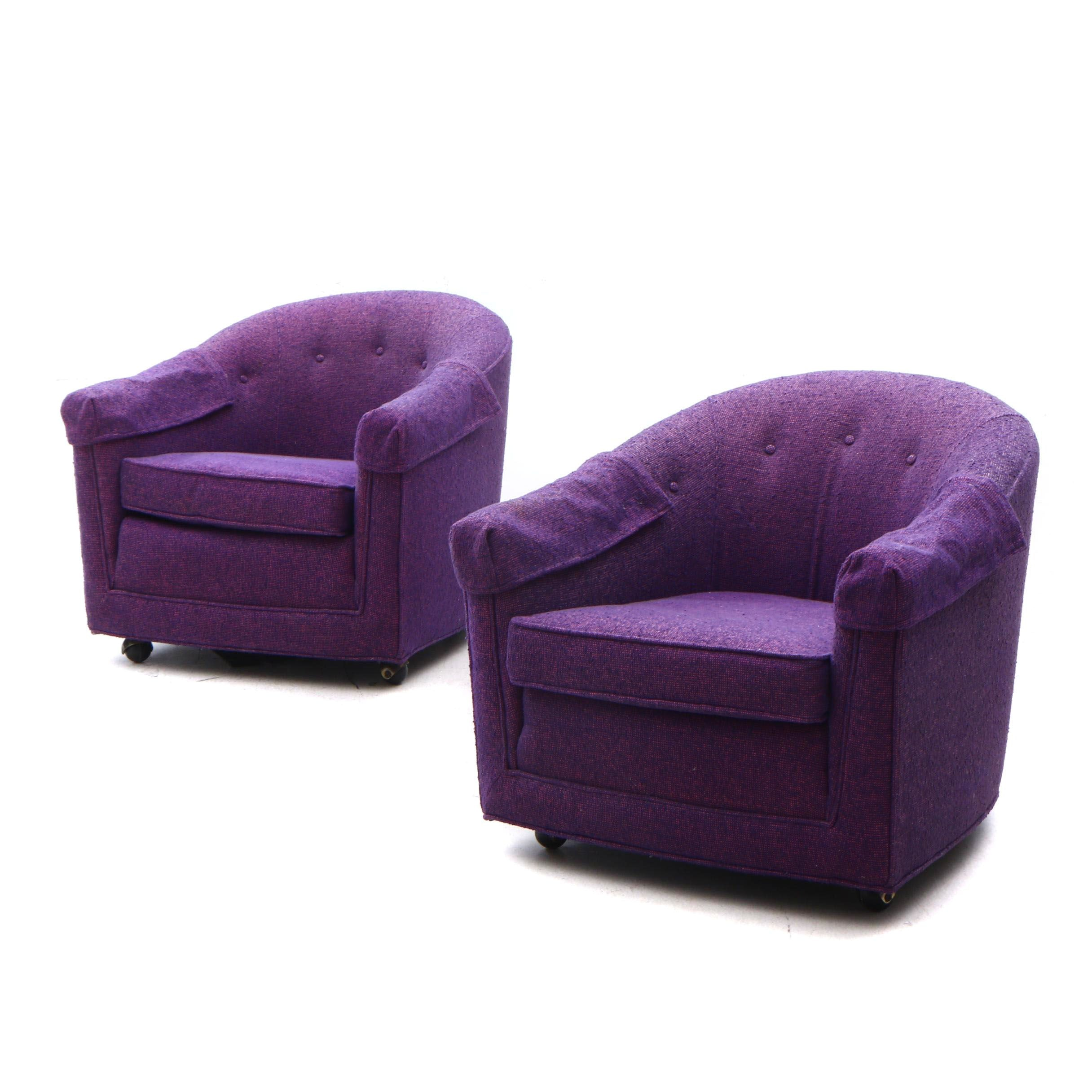 Upholstered Barrel Back Purple Arm Chairs on Casters