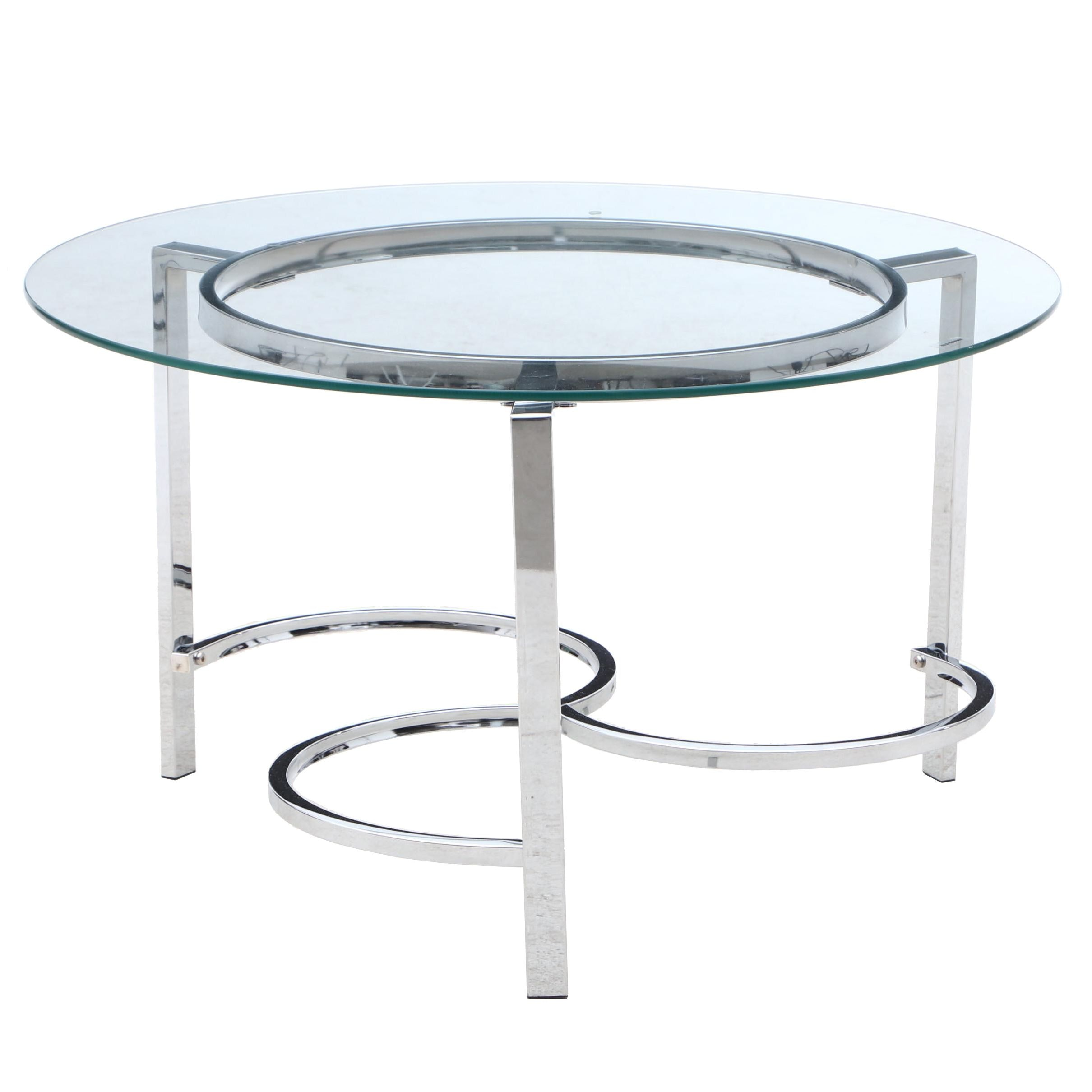Contemporary Modern Glass Top Chrome Frame Coffee Table