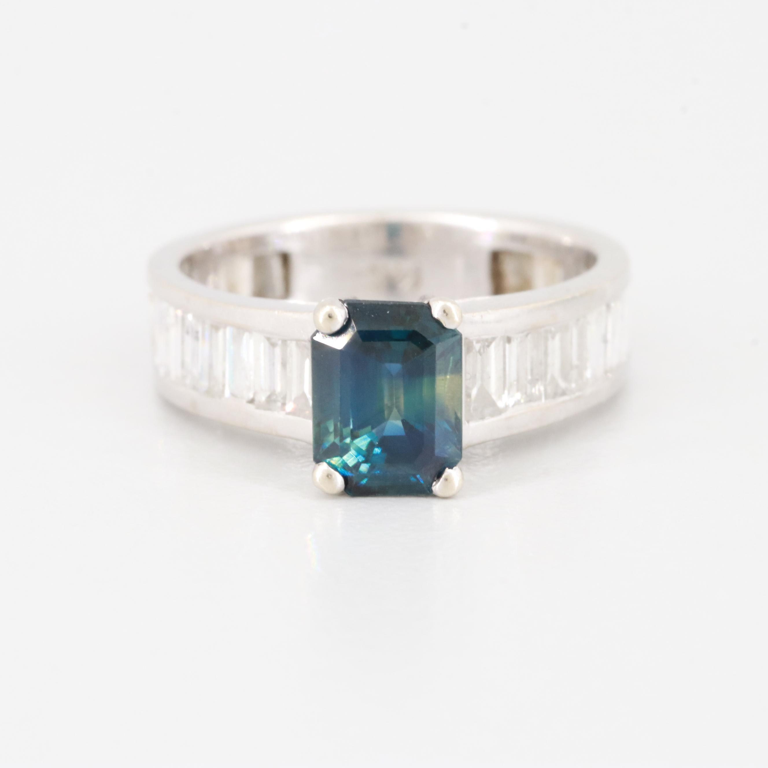 14K White Gold Blue Sapphire and 1.98 CTW Diamond Ring