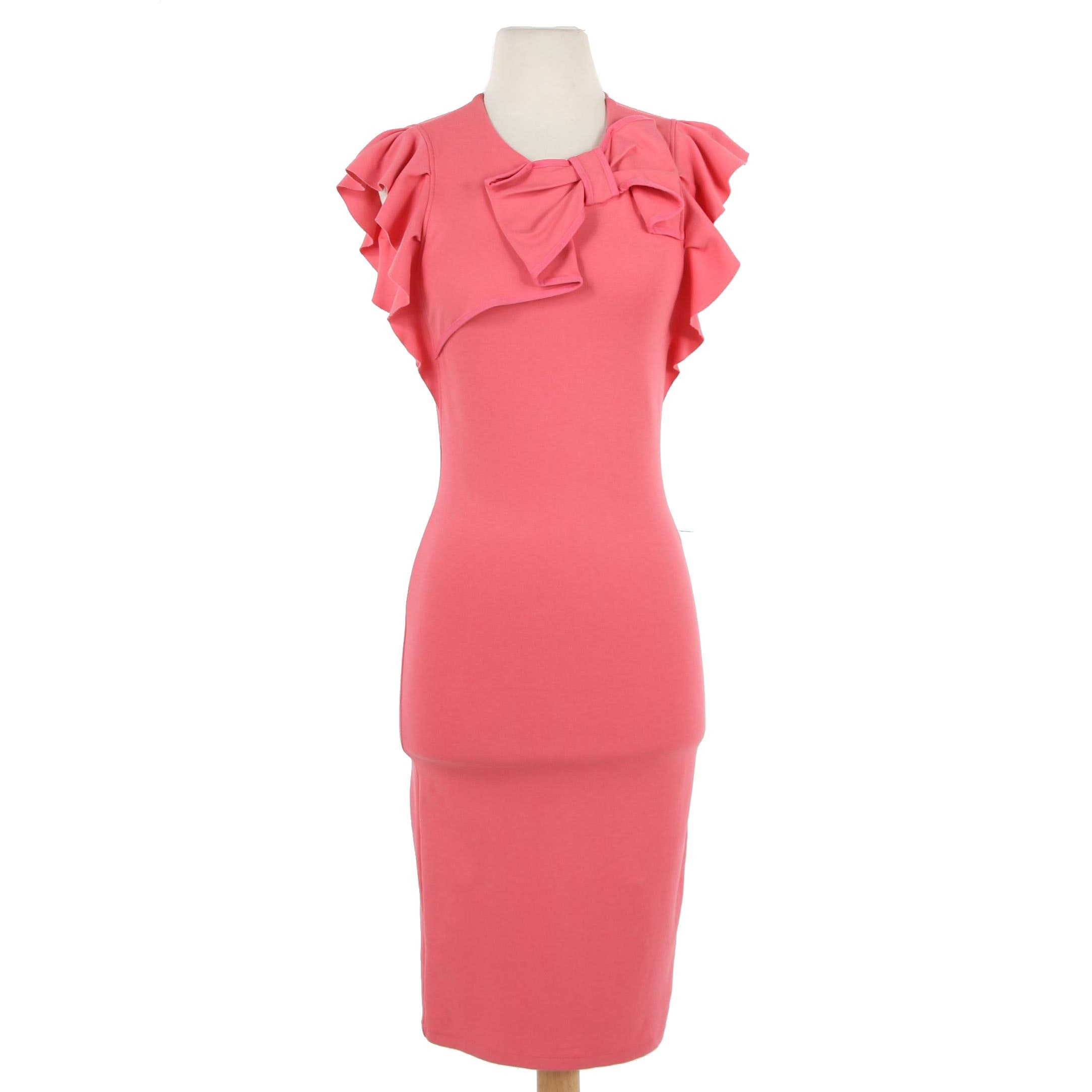 RED Valentino Flutter Sleeve Ponte Knit Bodycon Dress with Bow Accent