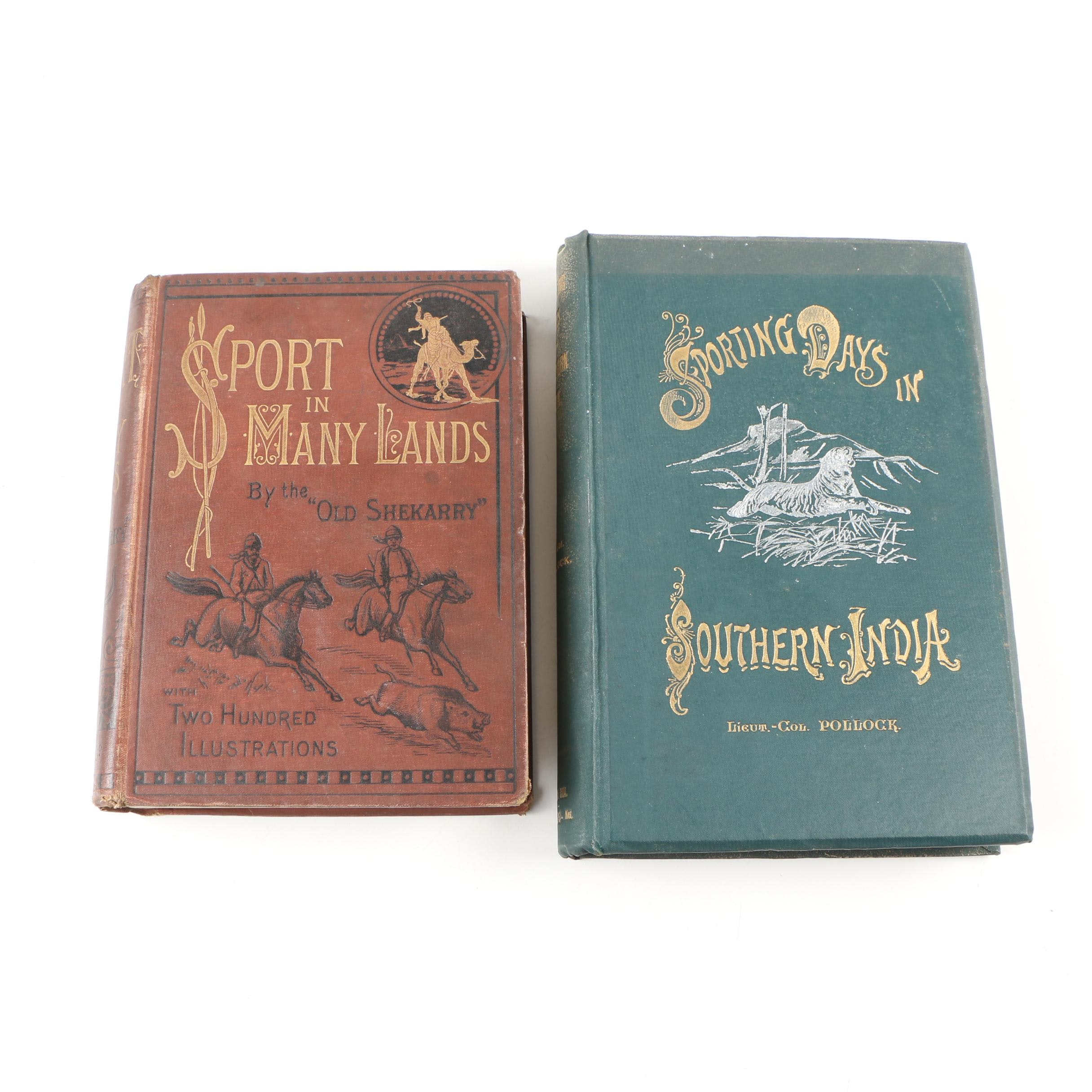 "Big Game Hunting Books featuring ""Sport in Many Lands"" byH. A. Leveson, 1890"