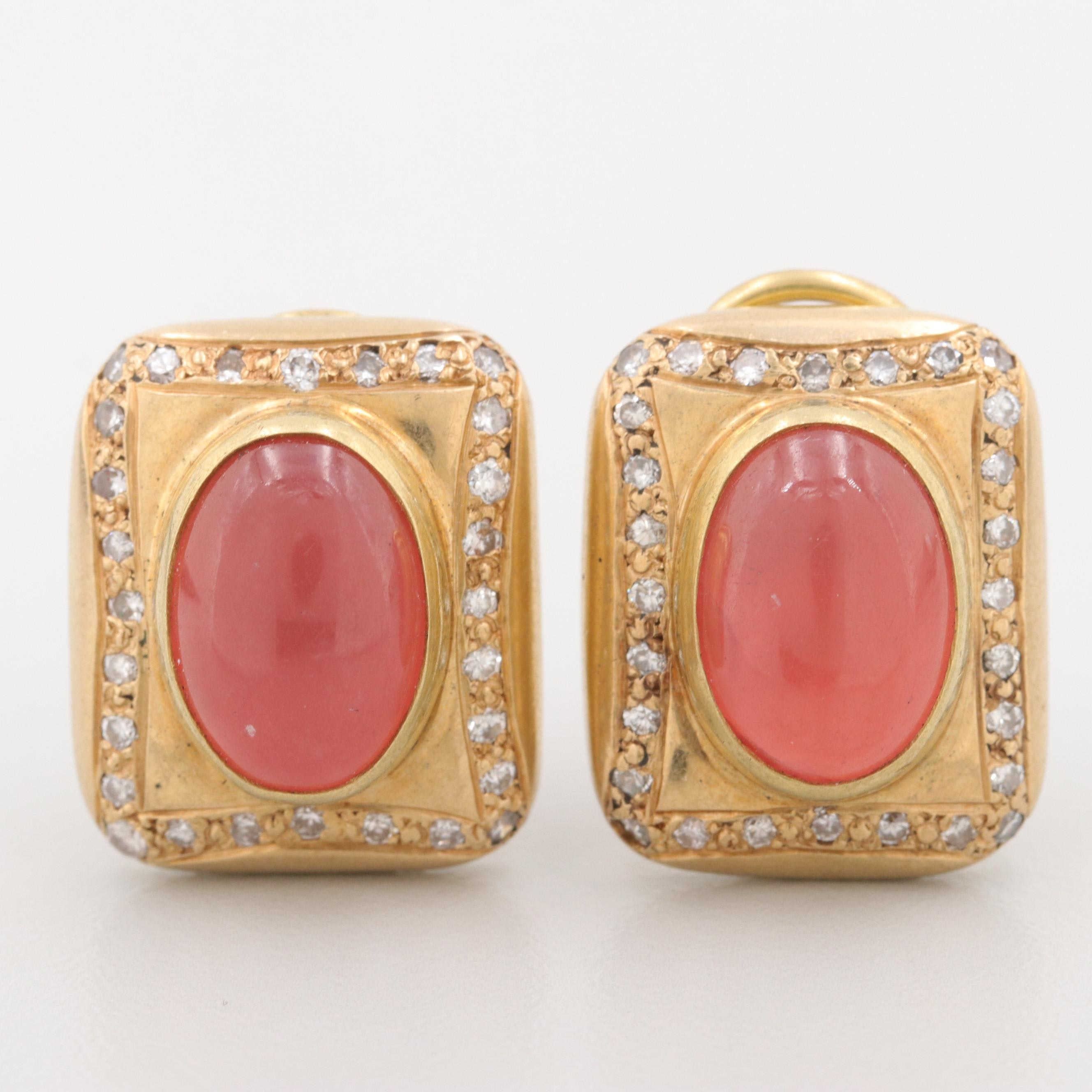 Vintage 18K Gold Single Crystal Rhodochrosite and 1.12 CTW Diamond Earrings