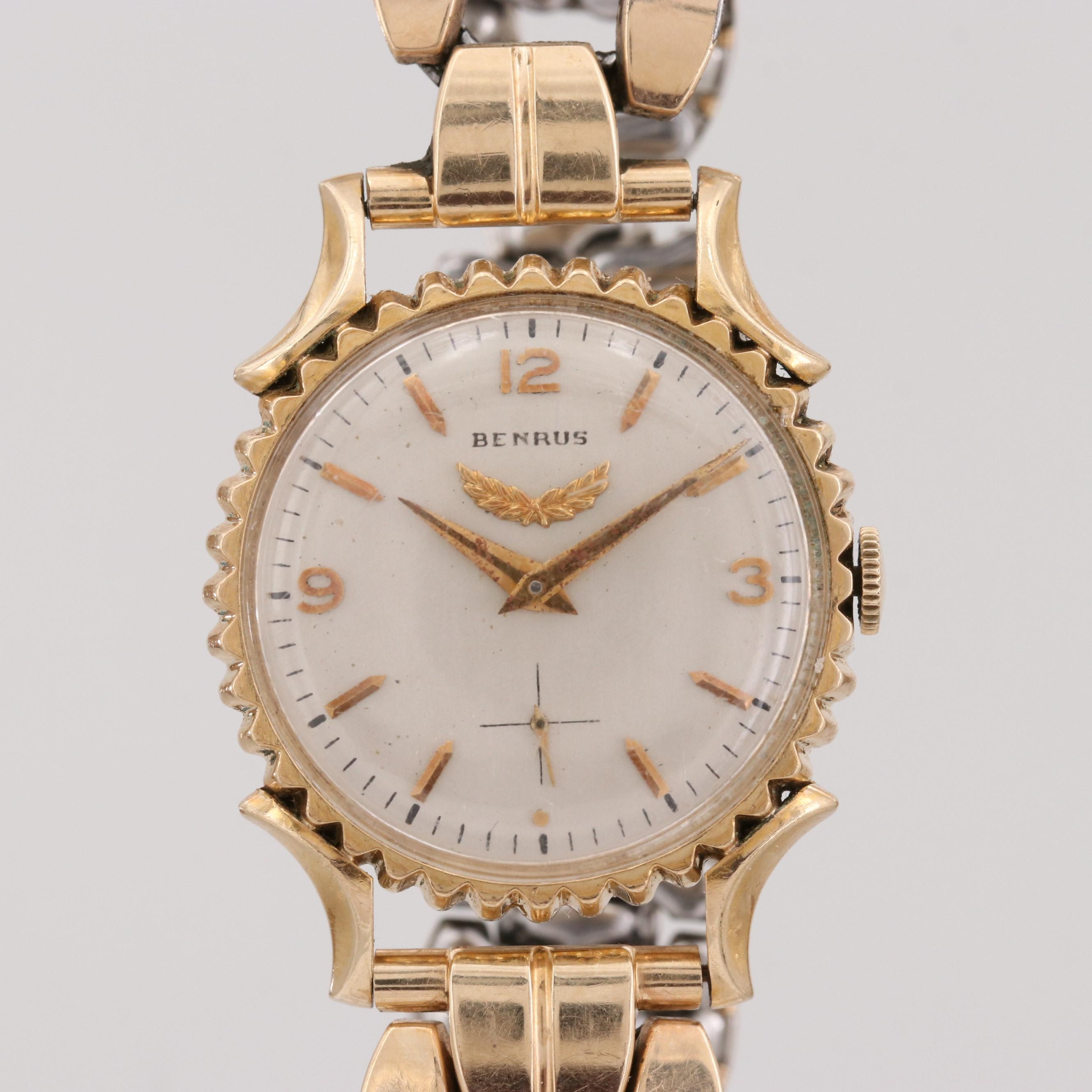 Benrus 10K Gold Filled Wristwatch With Fancy Bezel