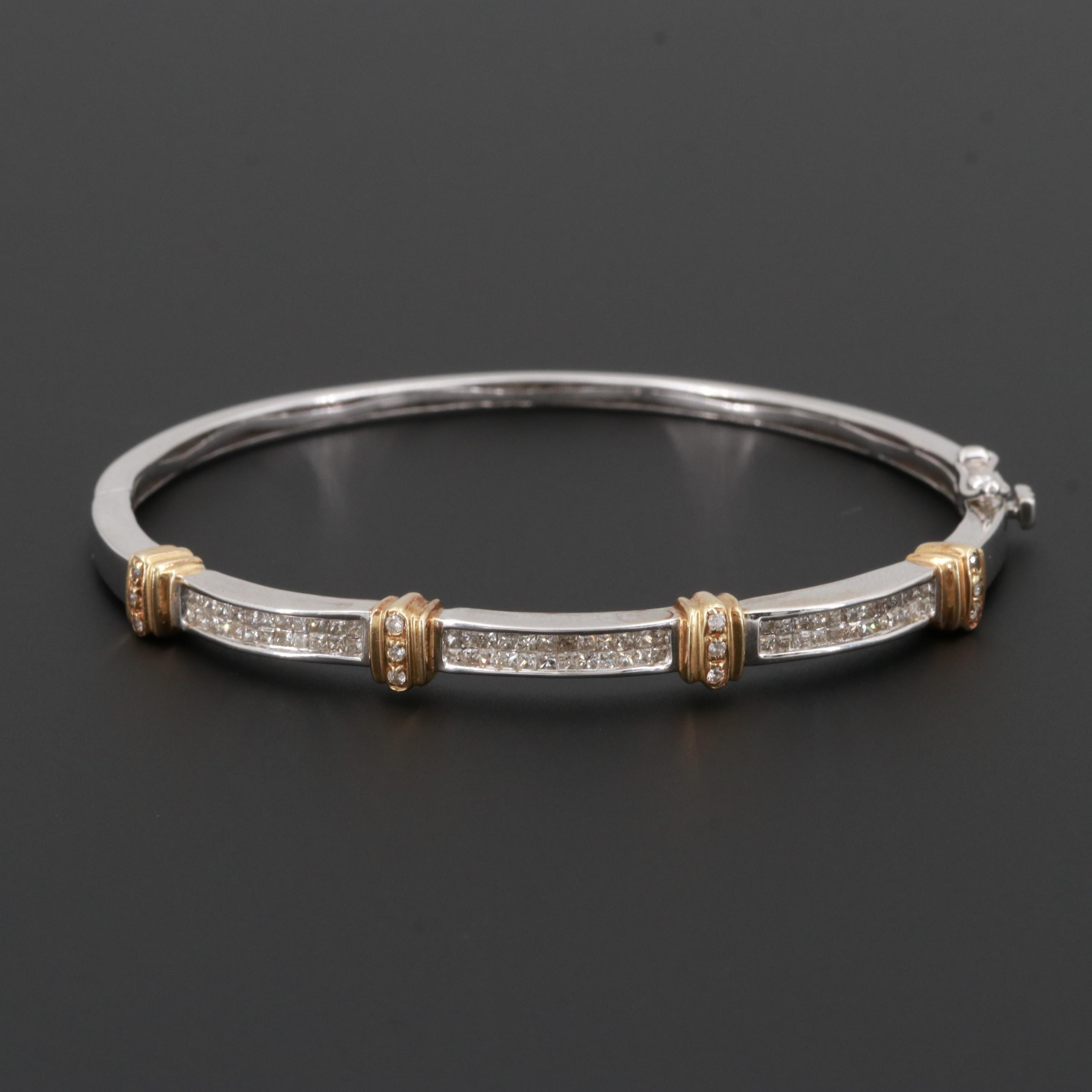 14K White Gold Diamond Hinged Bangle Bracelet with Yellow Gold Accents