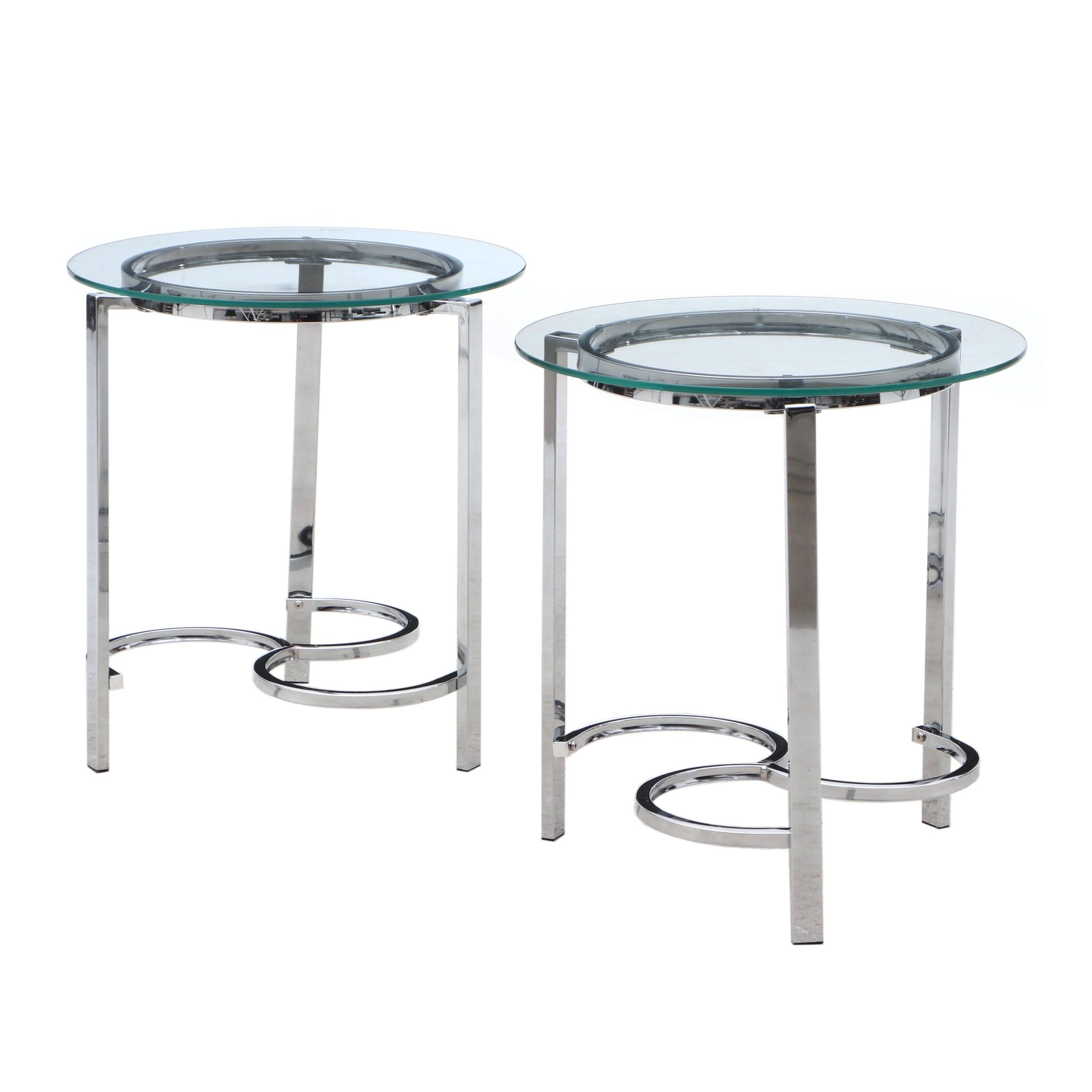 Pair Contemporary Modern Glass Top Chrome Frame Side Tables