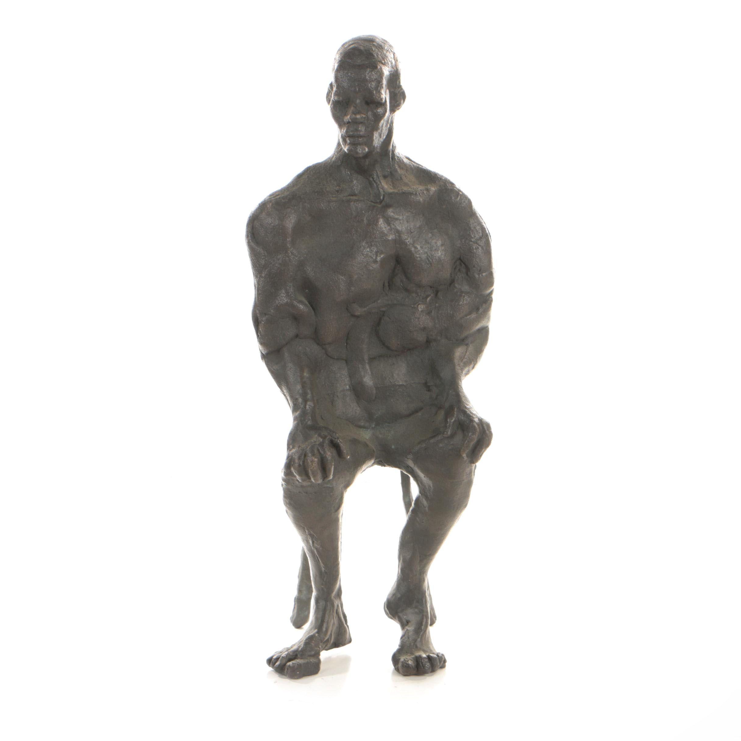 John Tuska Cast Bronze Sculpture of Seated Figure