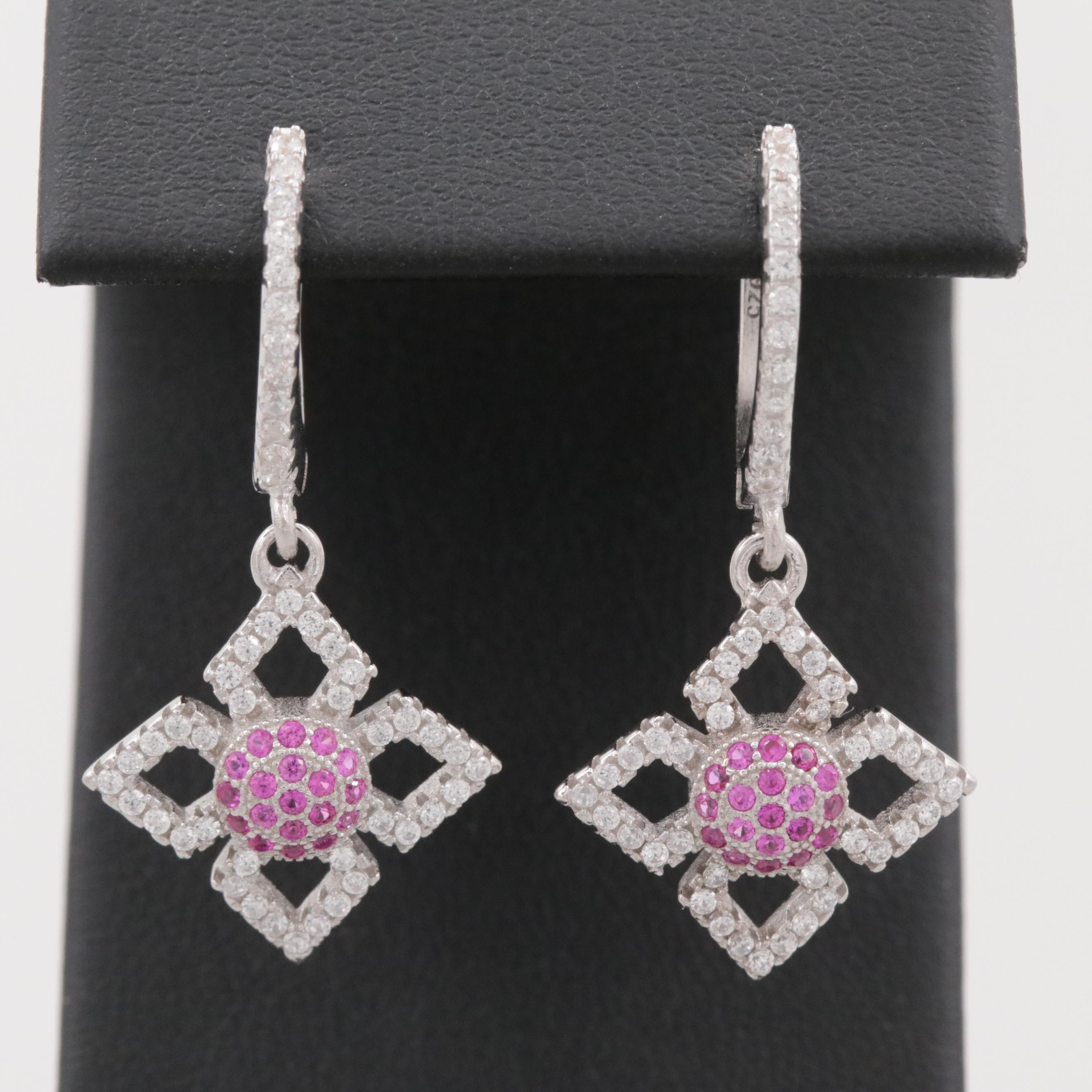 Sterling Silver Synthetic Ruby and Cubic Zirconia Dangle Earrings