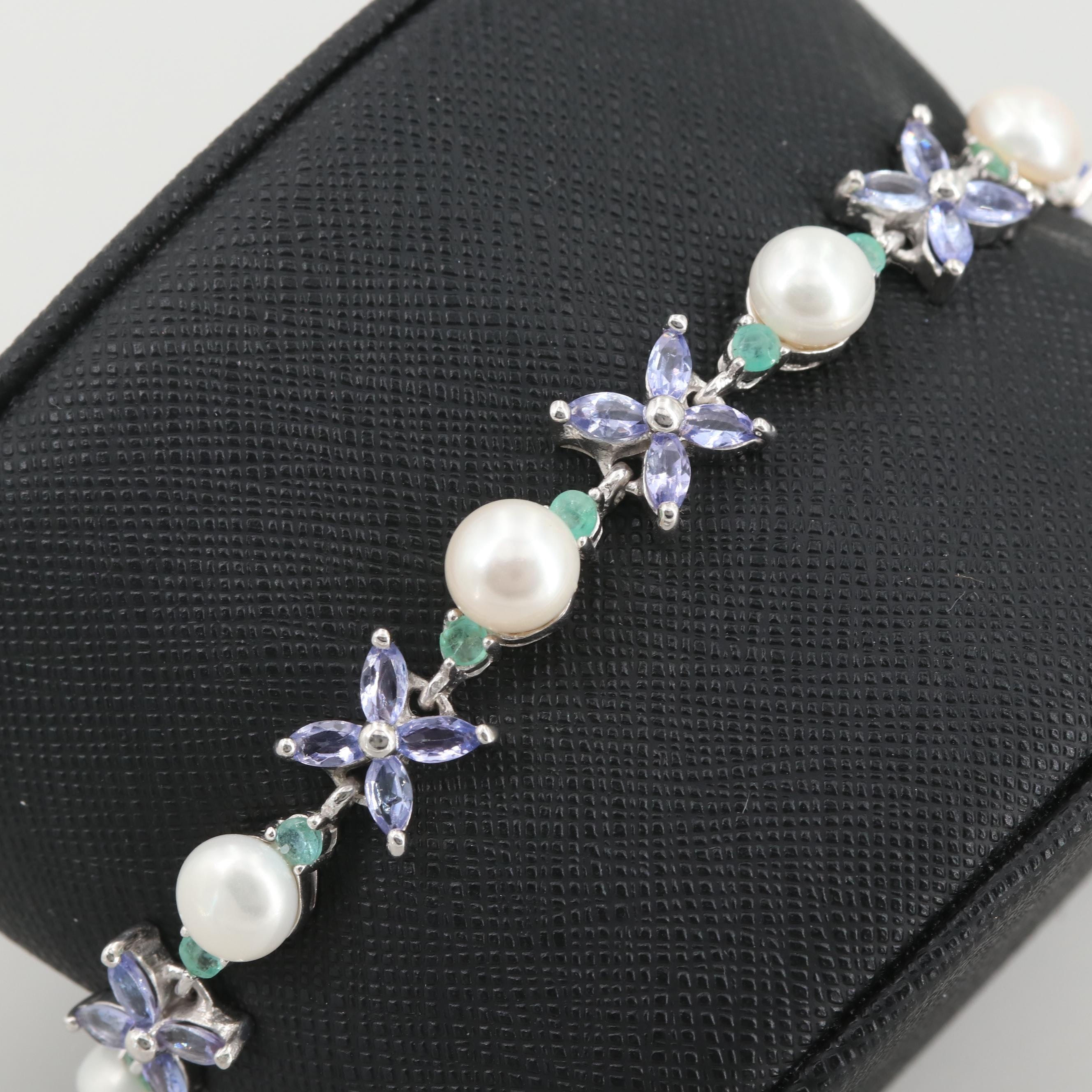 Sterling Silver Cultured Pearl, Tanzanite and Emerald Bracelet