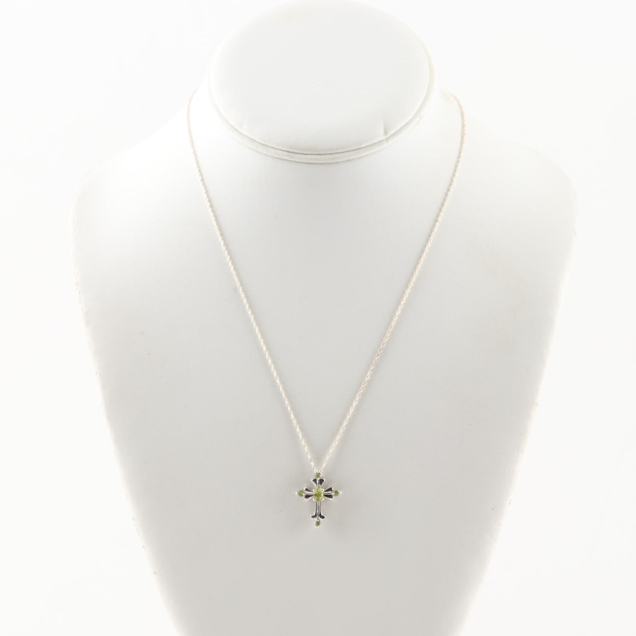 Sterling Silver and Peridot Cross Necklace