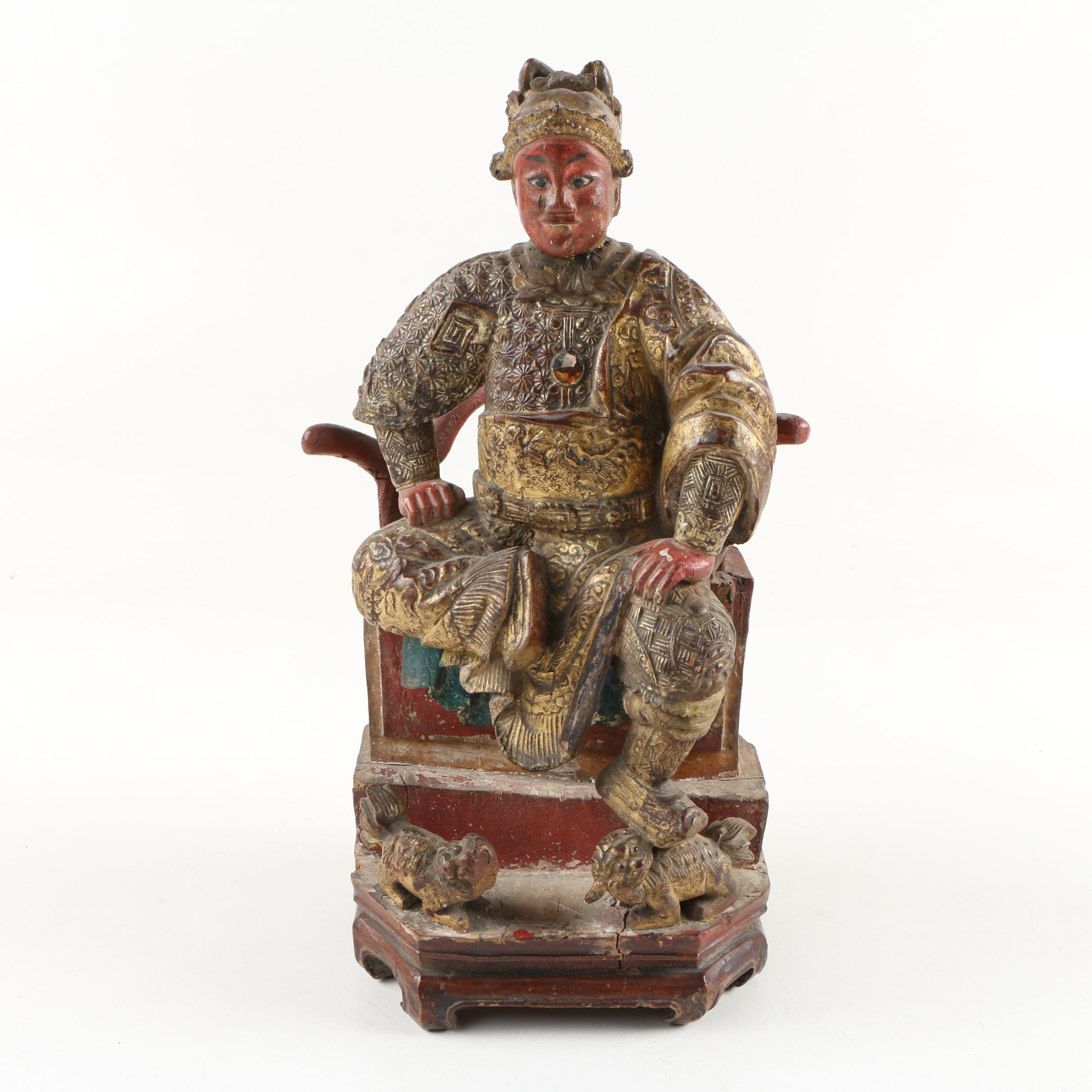 Chinese Gilt and Polychrome Carved Wood Seated Figure