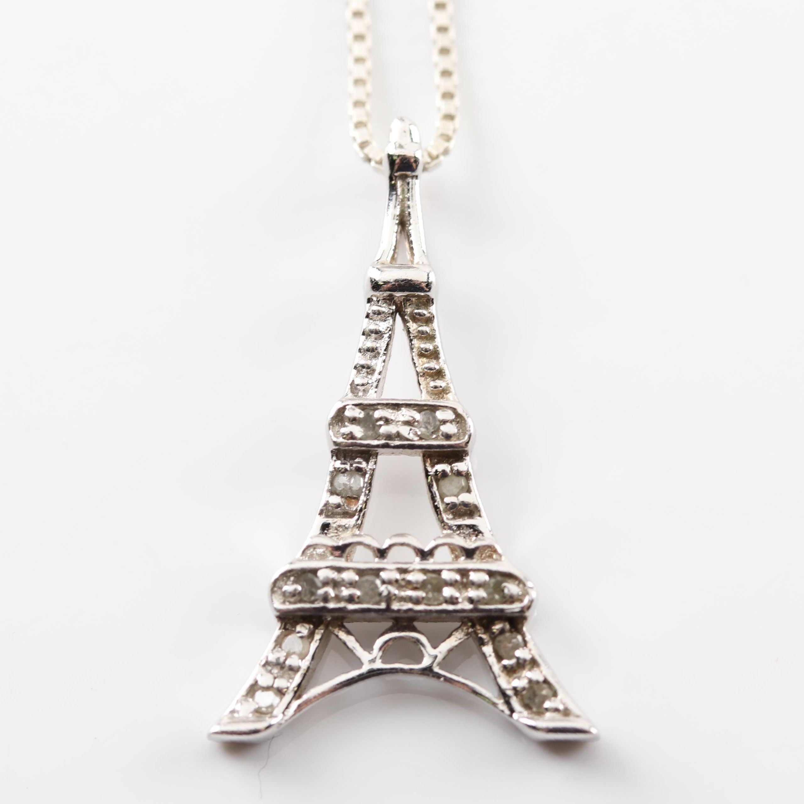 Sterling Silver and Diamond Eiffel Tower Pendant Necklace